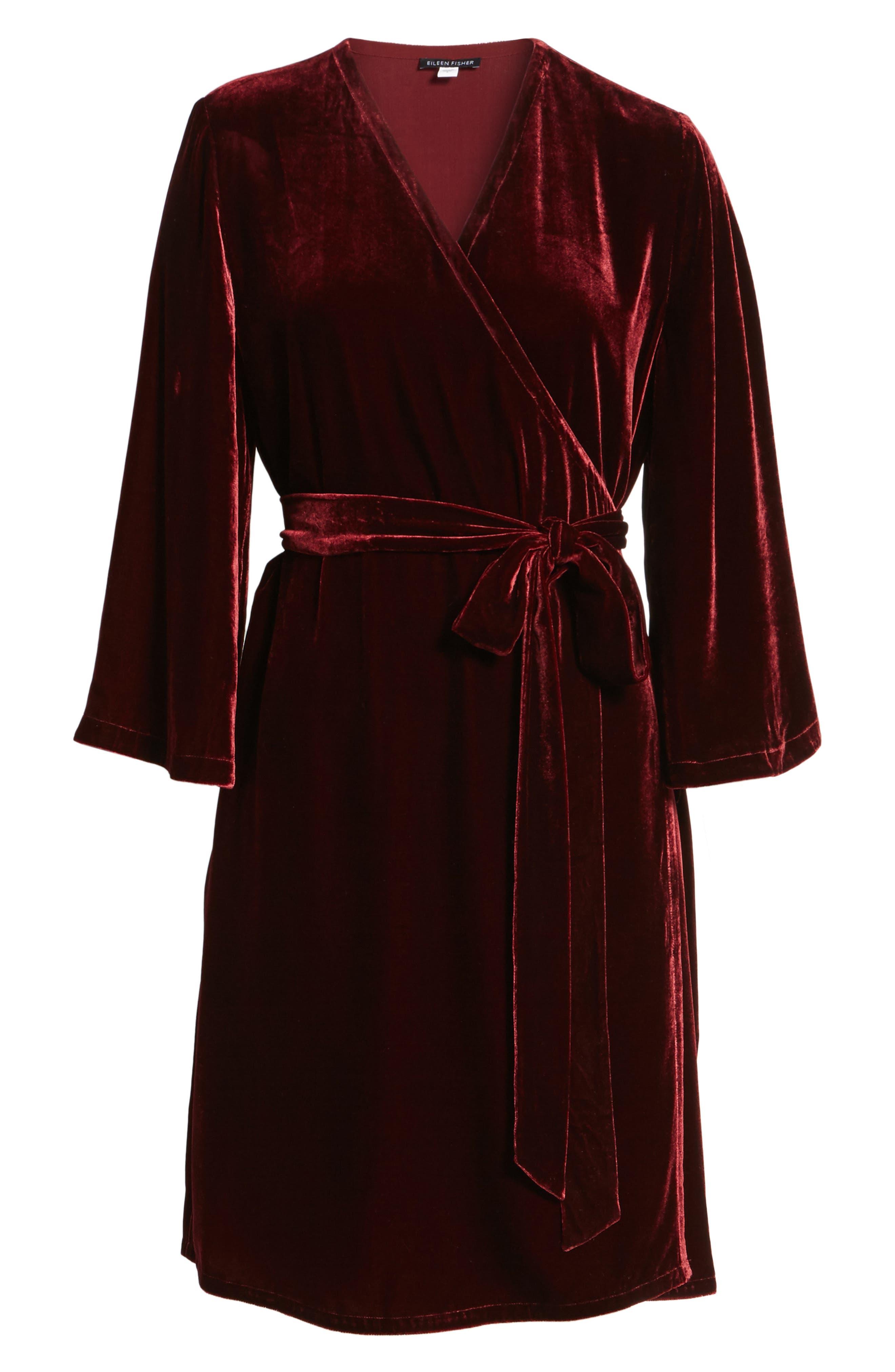 Velvet Wrap Dress,                             Alternate thumbnail 18, color,