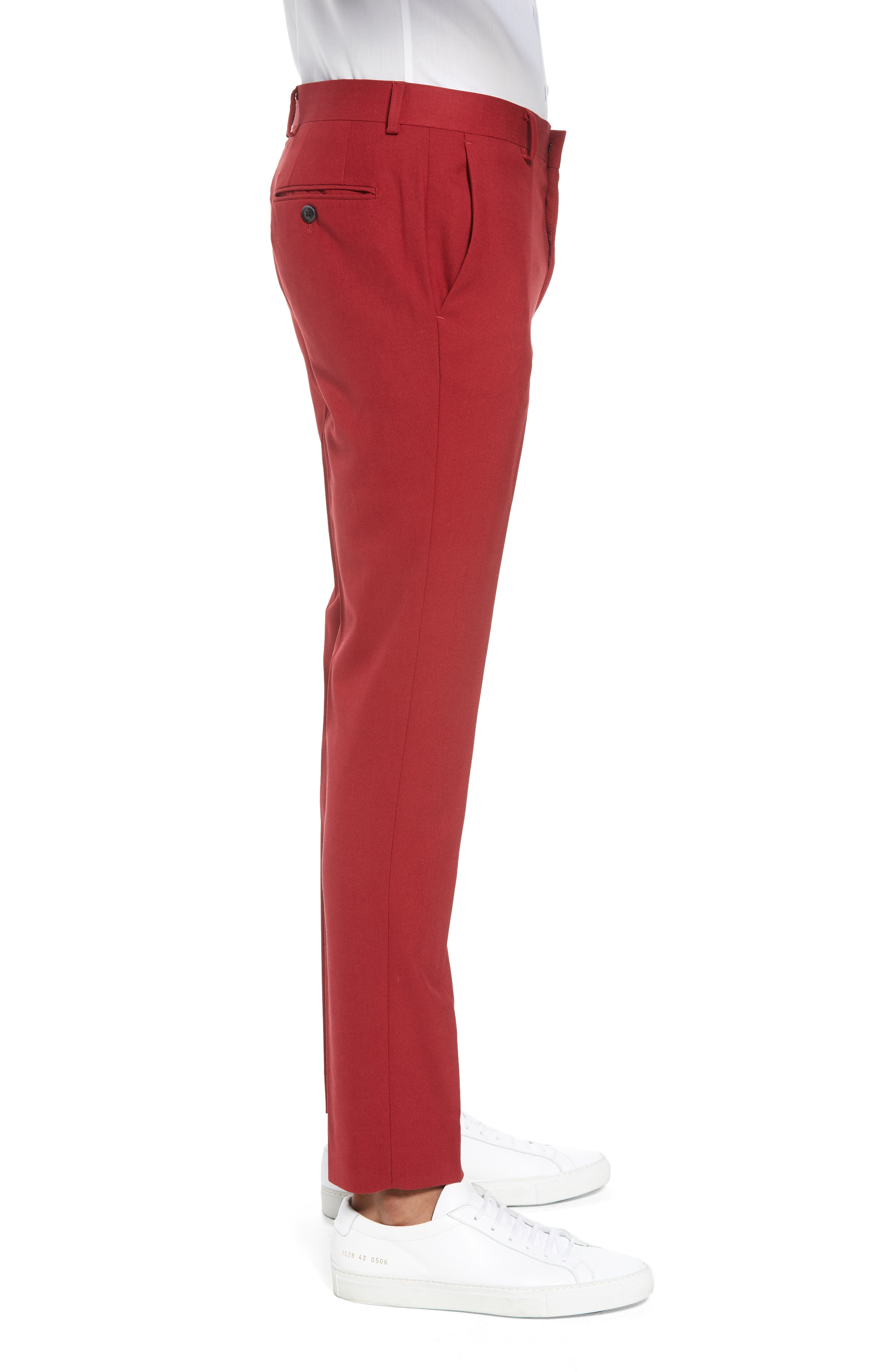 Skinny Fit Suit Trousers,                             Alternate thumbnail 3, color,                             RED