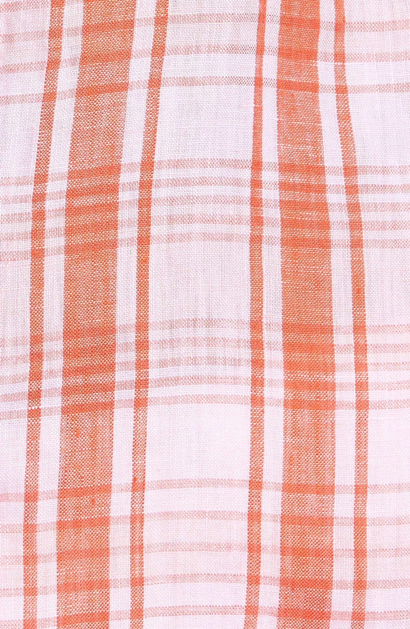 Athena Plaid Linen Shirt,                             Alternate thumbnail 5, color,                             800