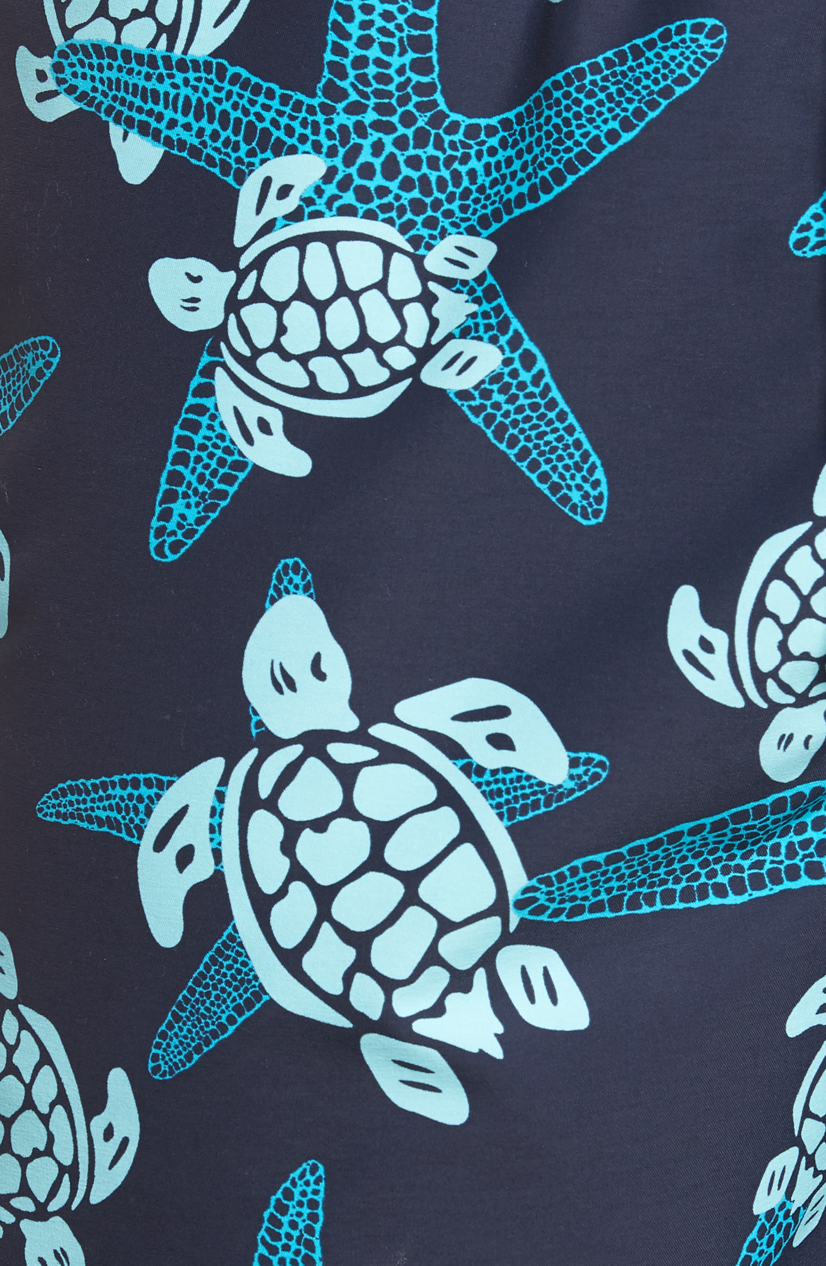 Starlette Turtle Print Swim Trunks,                             Alternate thumbnail 5, color,                             NAVY