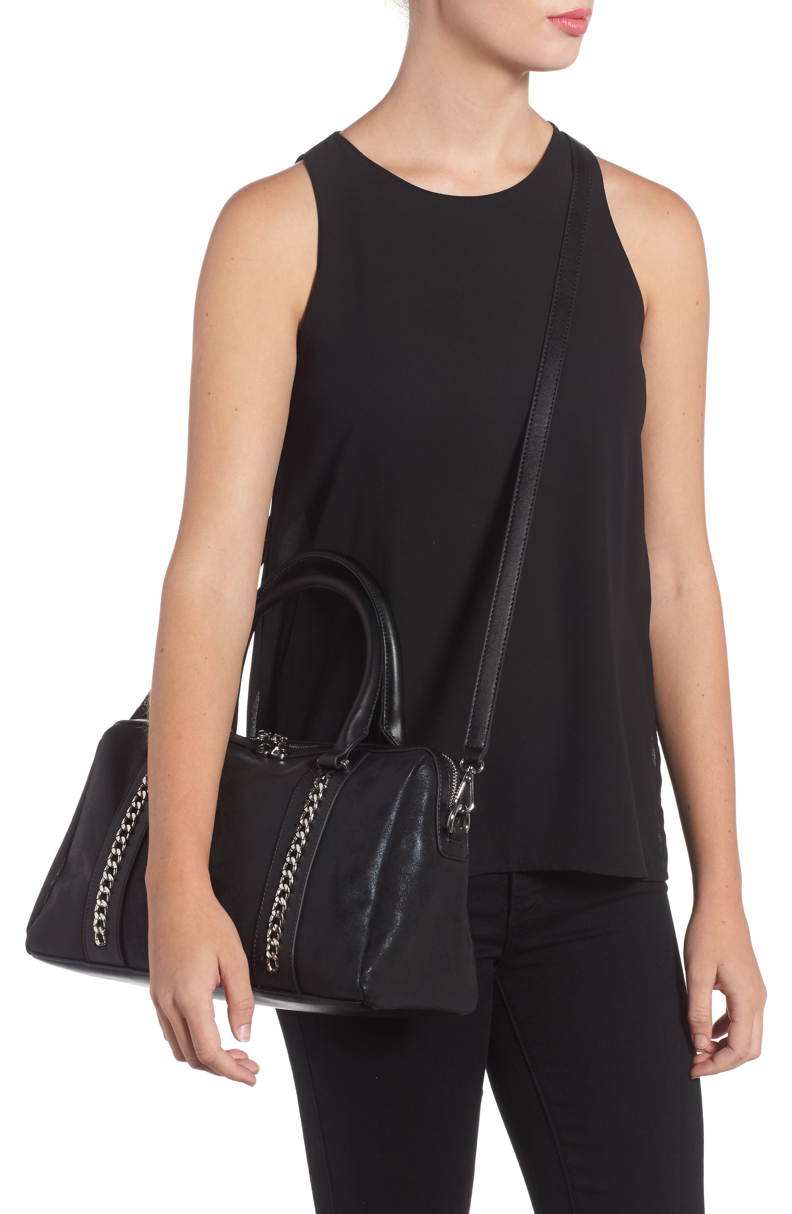 Karlie Faux Leather Satchel,                             Alternate thumbnail 2, color,                             001