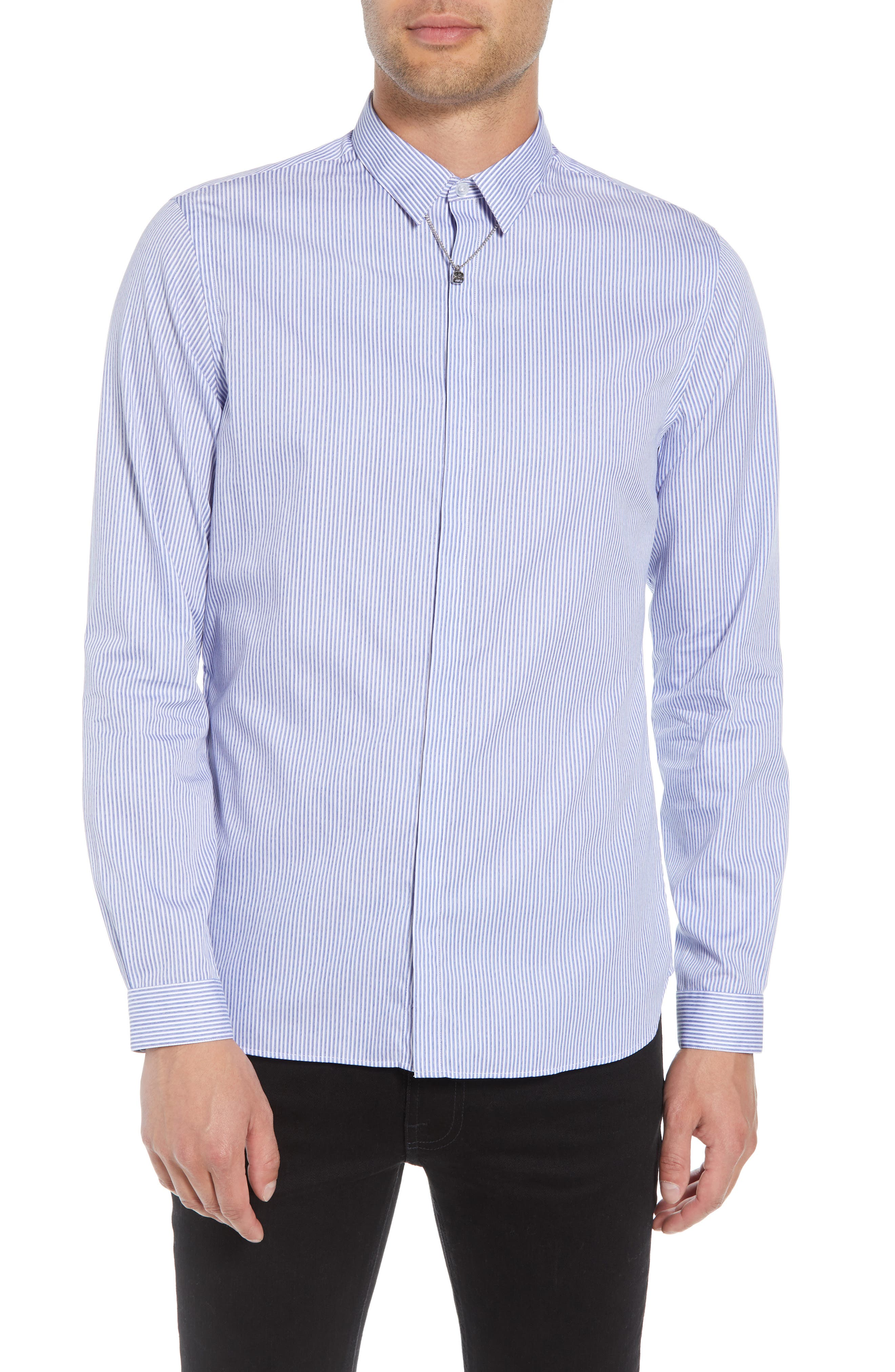 THE KOOPLES Slim Fit Stripe Sport Shirt in Navy And White Stripe