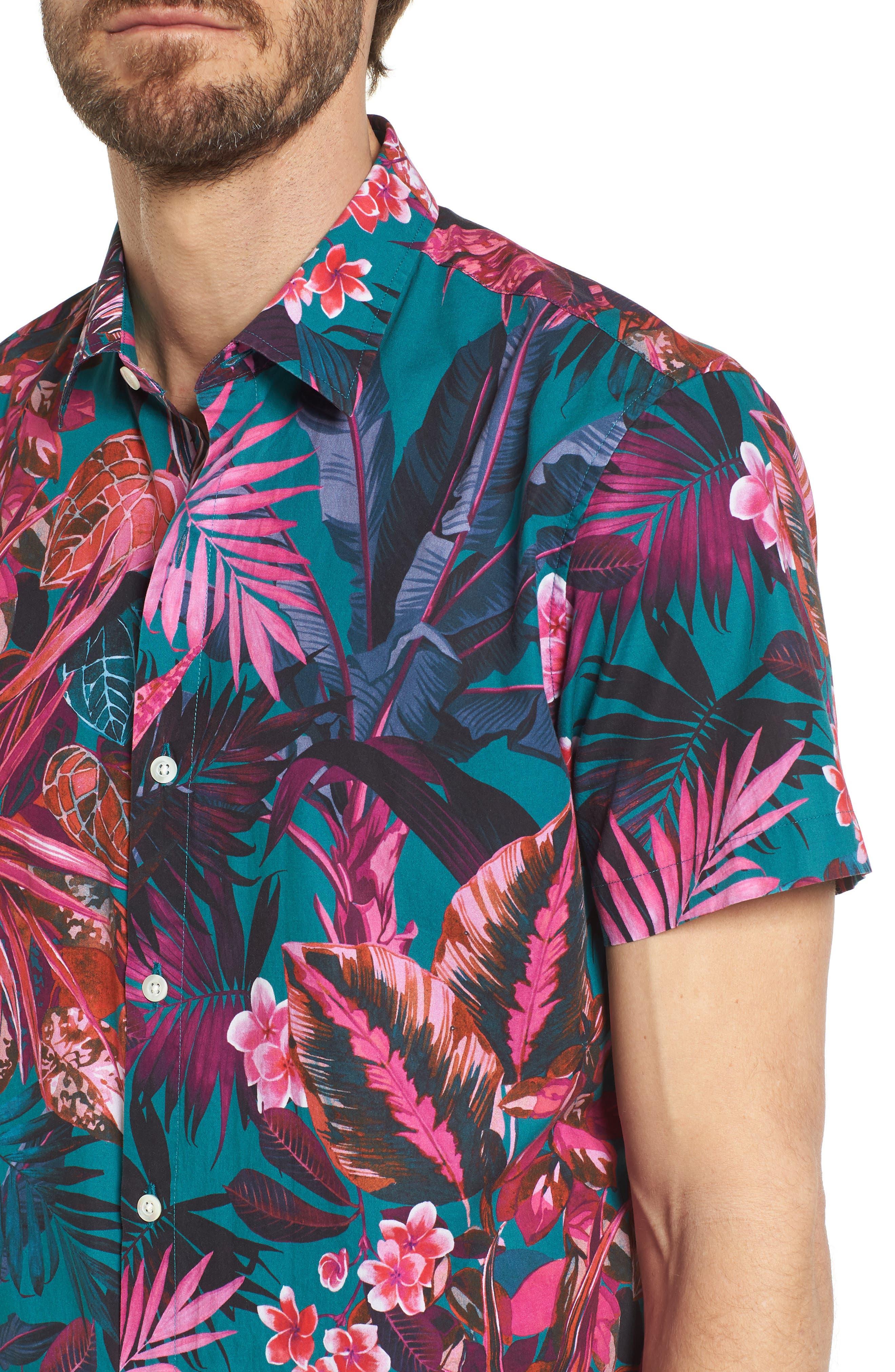 Premium Slim Fit Short Sleeve Print Sport Shirt,                             Alternate thumbnail 4, color,