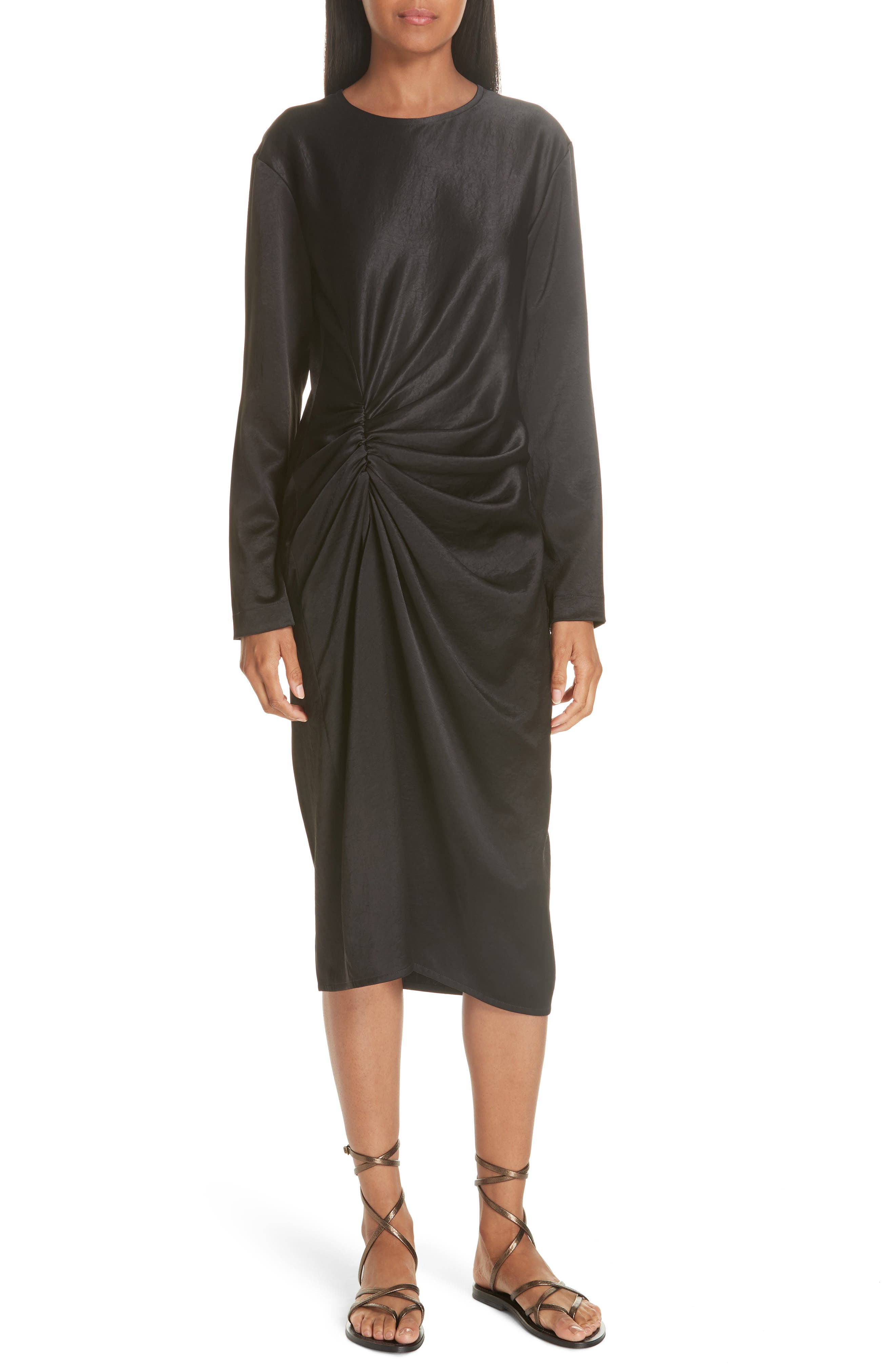 Ruched Crinkle Satin Dress,                             Main thumbnail 1, color,                             001