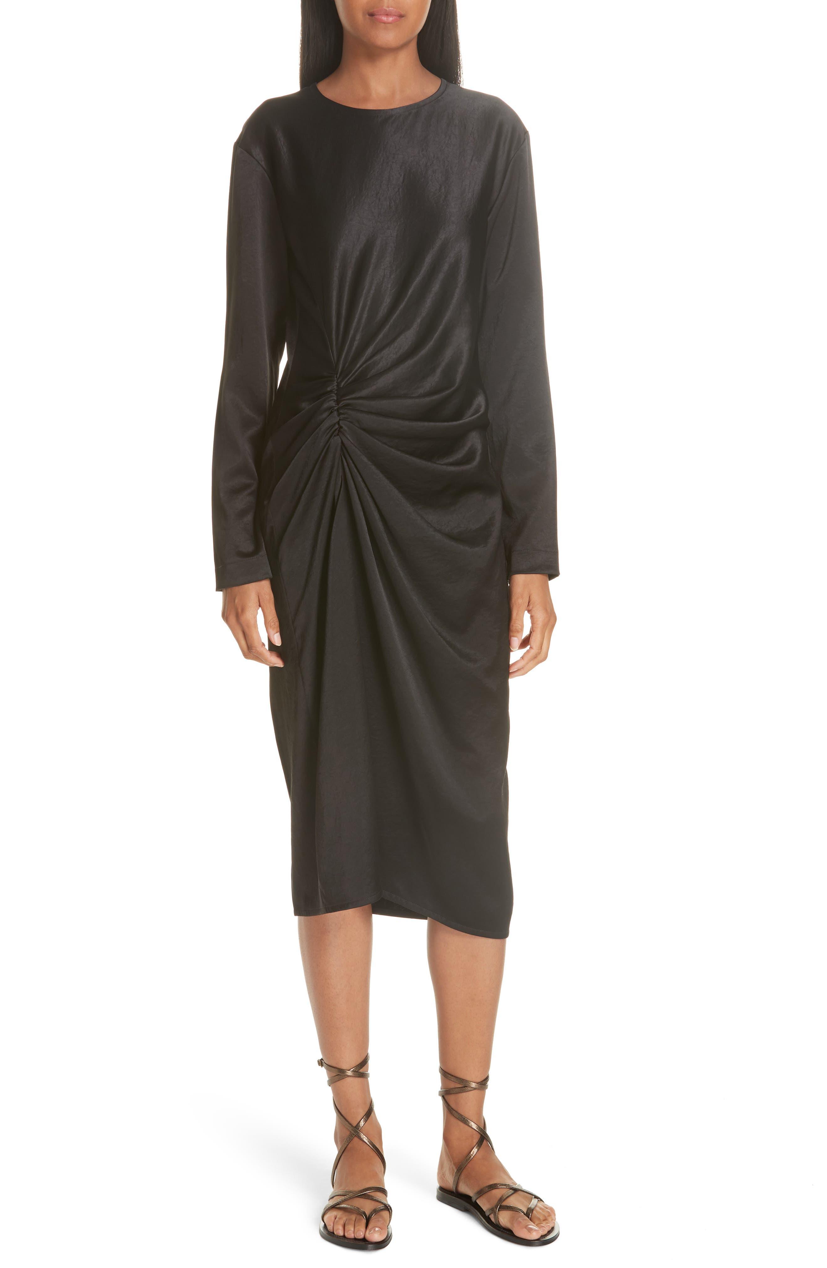 Ruched Crinkle Satin Dress,                         Main,                         color, 001