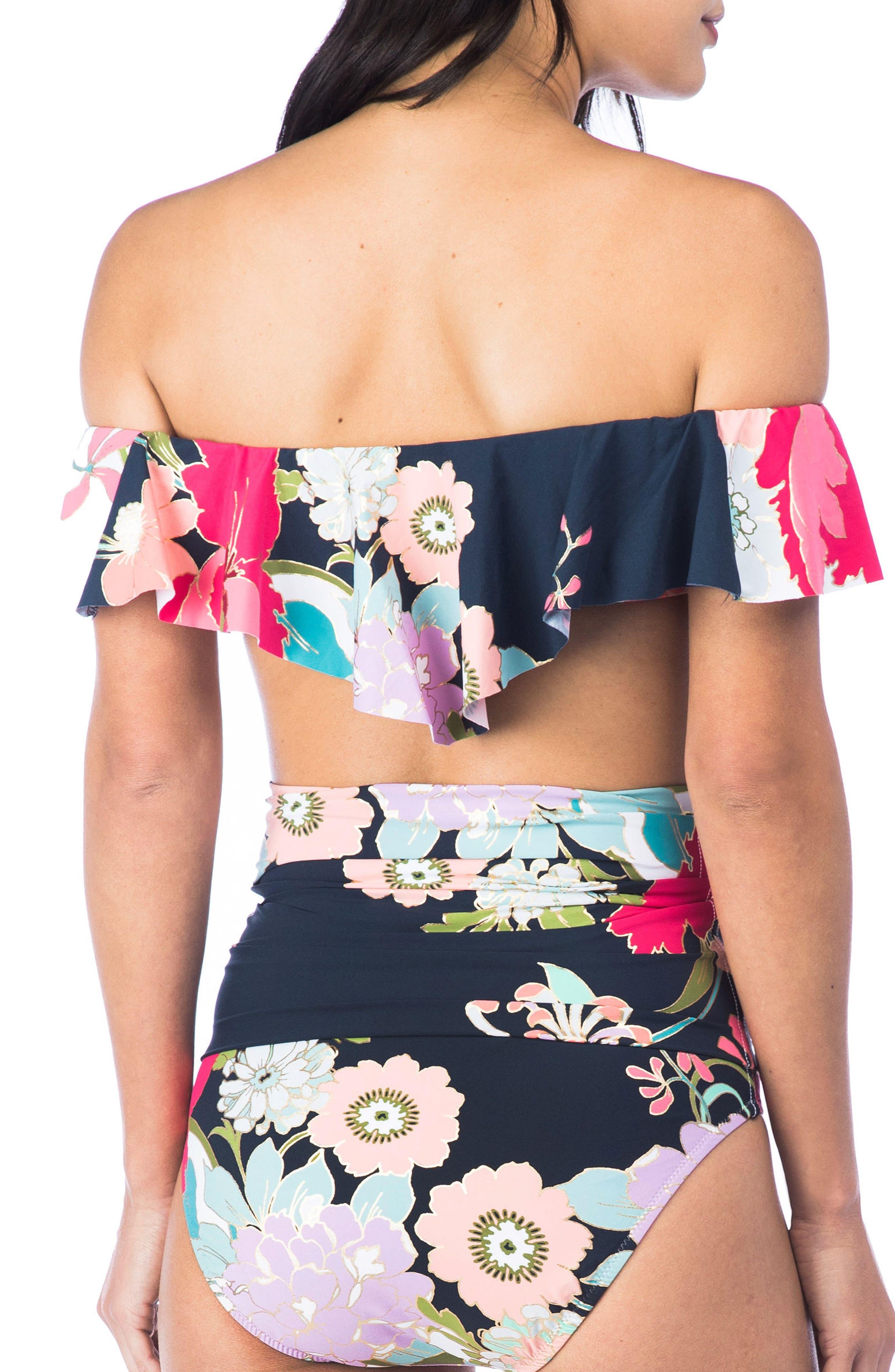Royal Botanical Off the Shoulder Bikini Top,                             Alternate thumbnail 2, color,                             400