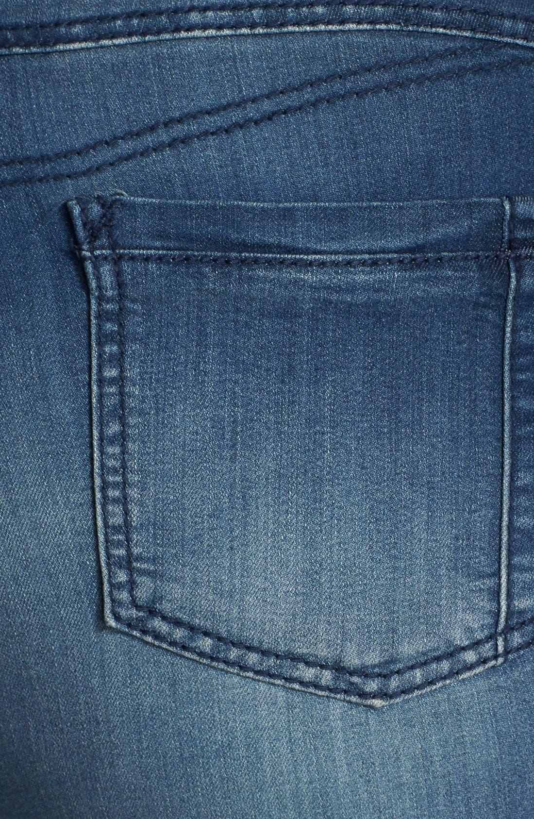 'Suzzie' Stretch Knit Denim Crop Jeans,                             Alternate thumbnail 3, color,                             DARK BLUE