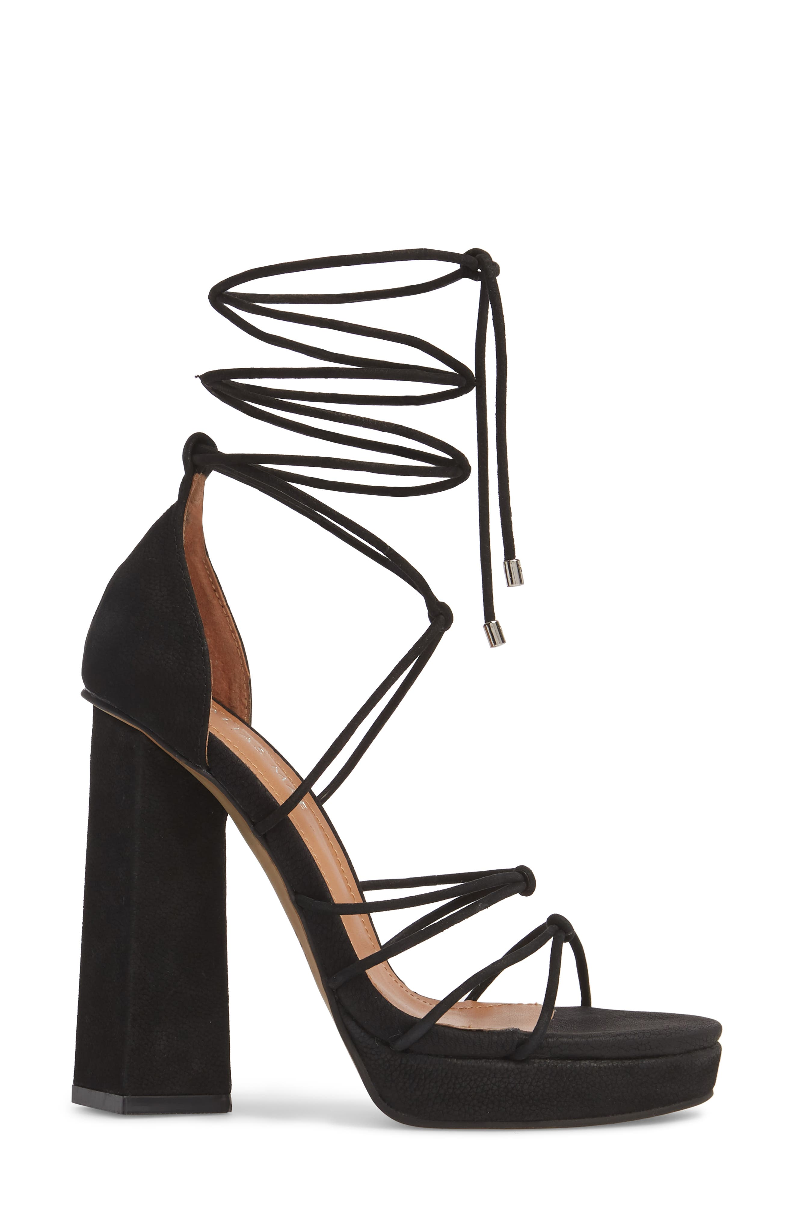 Bordega Ankle Wrap Sandal,                             Alternate thumbnail 3, color,                             BLACK LEATHER