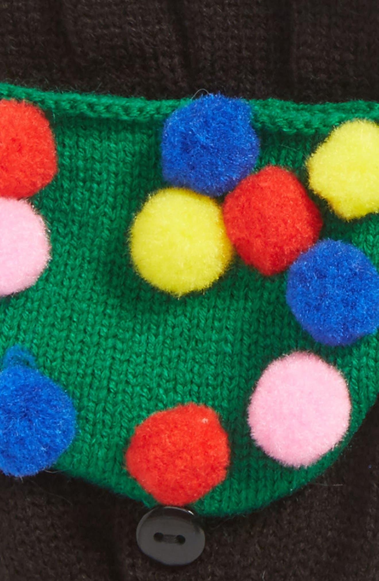 Pompom Pop-Top Mittens,                             Alternate thumbnail 2, color,                             001