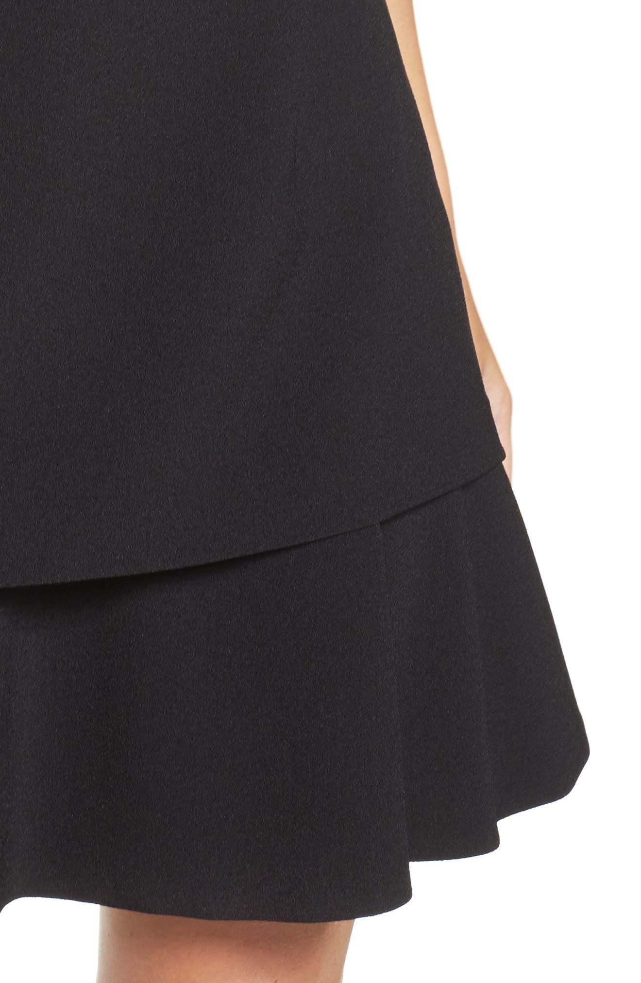 Crepe Fit & Flare Dress,                             Alternate thumbnail 4, color,                             001