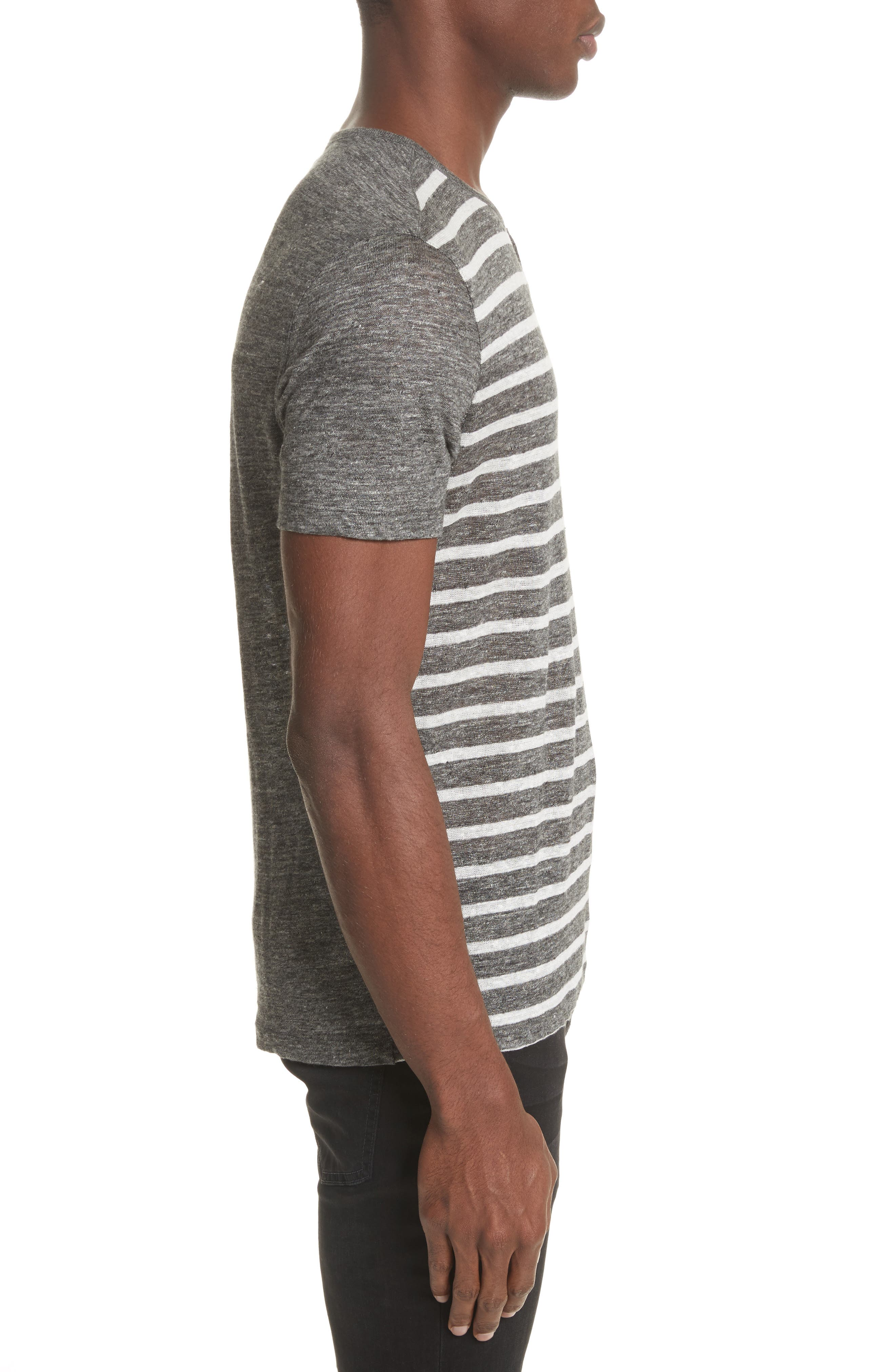 Stripe Linen Henley T-Shirt,                             Alternate thumbnail 3, color,                             014