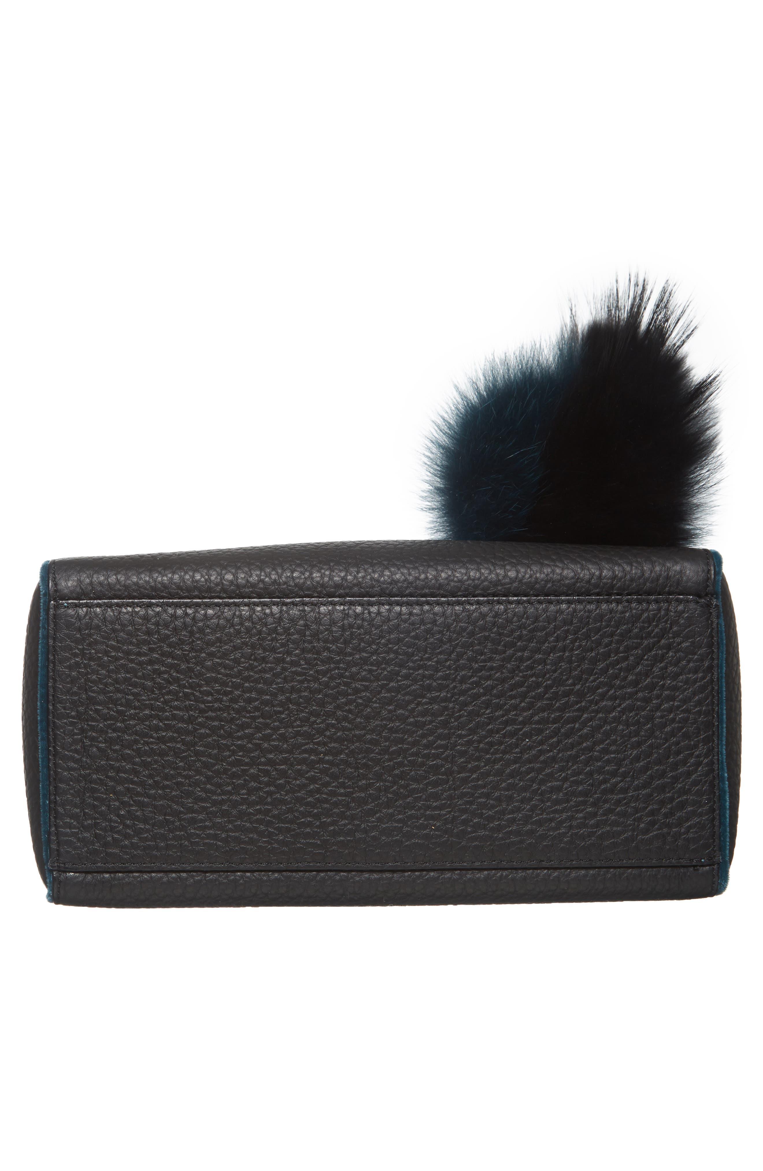 Small Sveva Soft Leather Top Handle Satchel with Genuine Fur Bag Charm,                             Alternate thumbnail 6, color,                             300