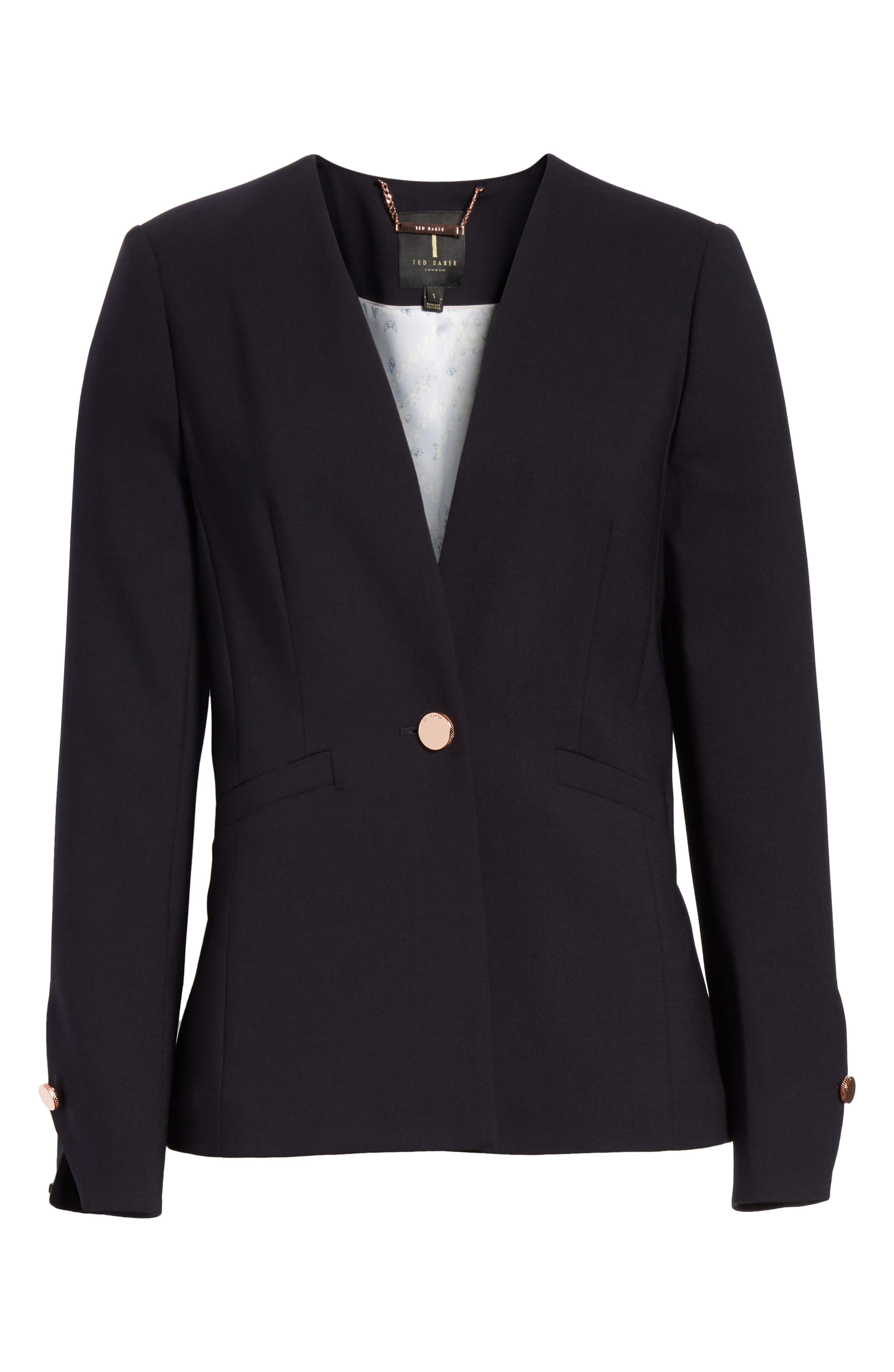 TED BAKER LONDON,                             Ted Working Title Collarless Stretch Wool Jacket,                             Alternate thumbnail 5, color,                             410
