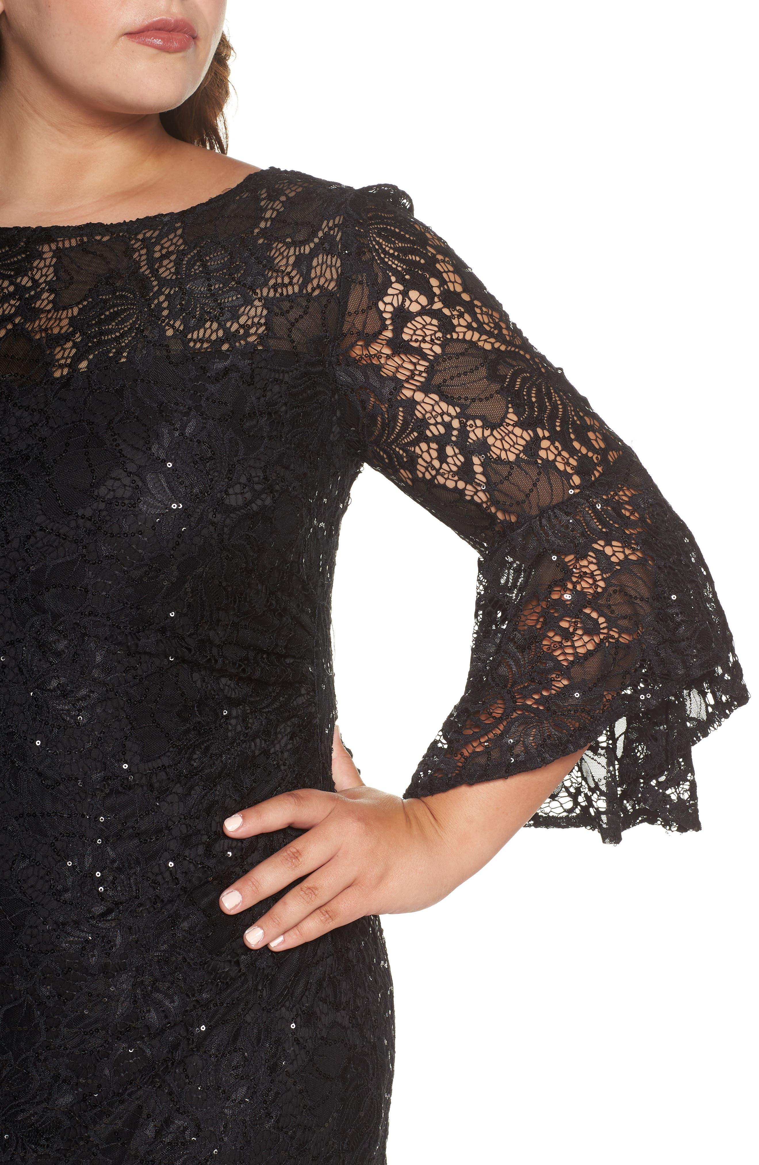 Bell Sleeve Lace Sheath Dress,                             Alternate thumbnail 4, color,                             BLACK
