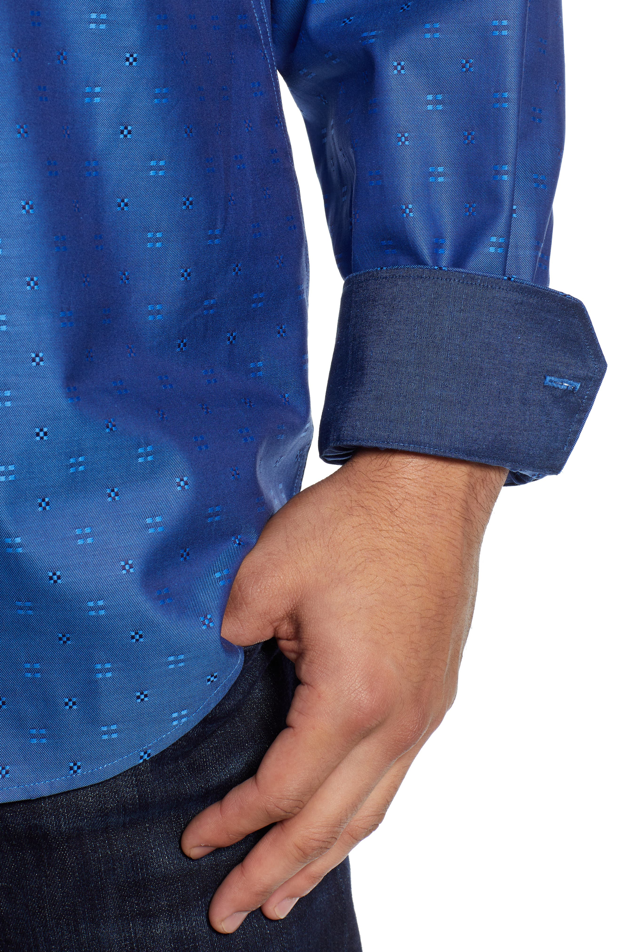 BUGATCHI,                             Classic Fit Embroidered Sport Shirt,                             Alternate thumbnail 2, color,                             CLASSIC BLUE