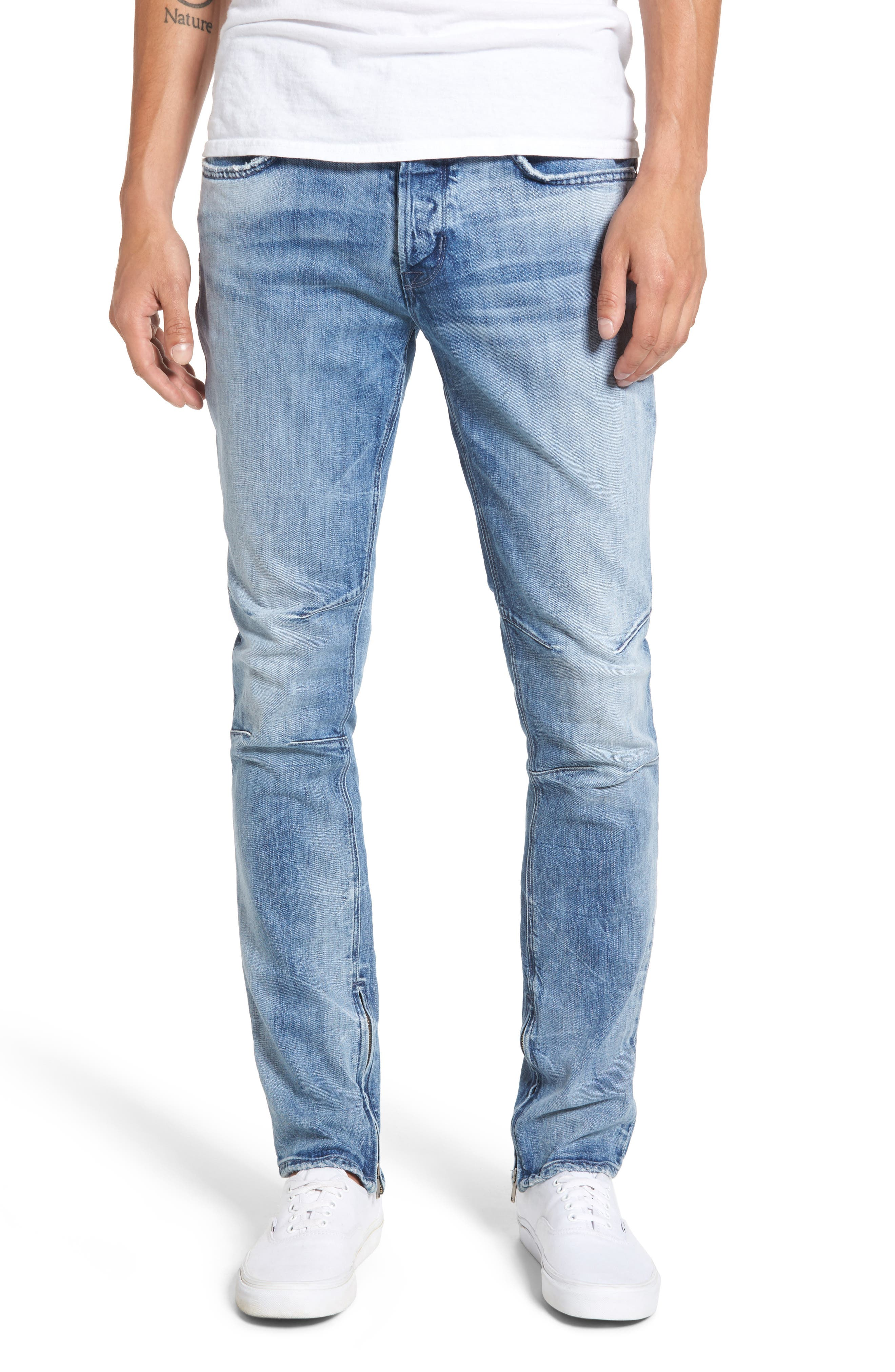 Vaughn Biker Skinny Fit Jeans,                             Main thumbnail 1, color,                             451