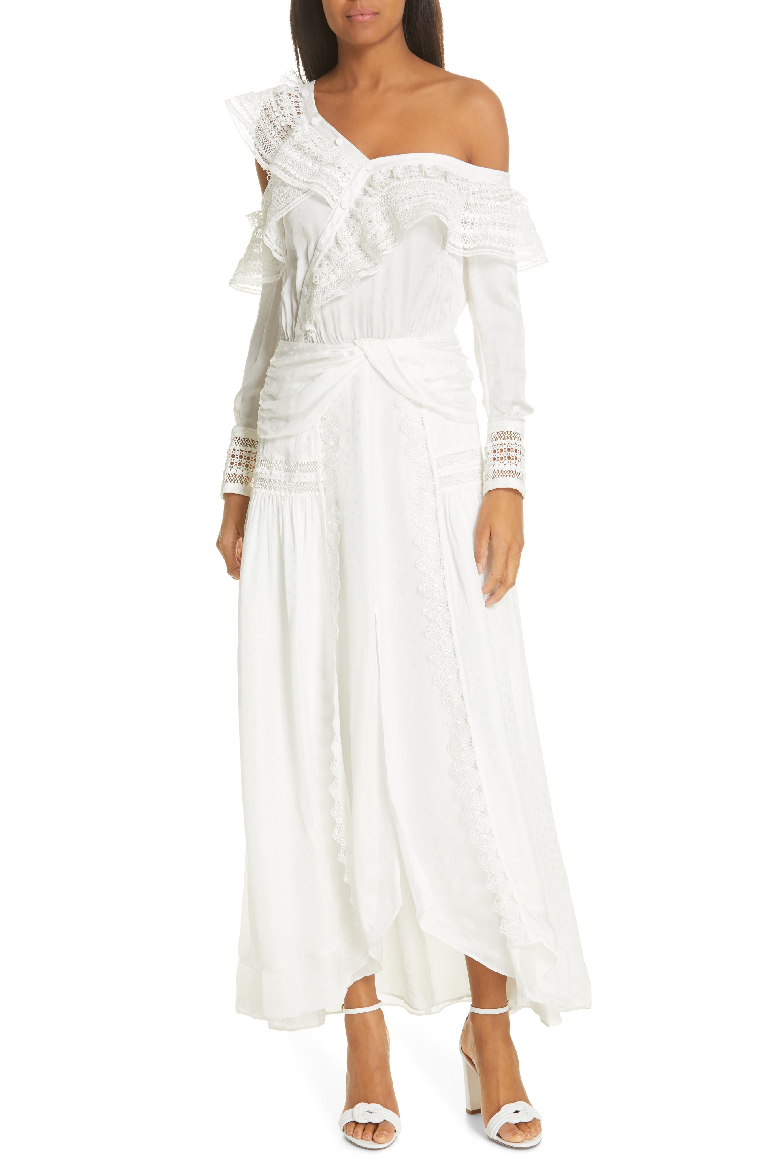 Self-Portrait Frill Long Sleeve One-Shoulder Maxi Dress, Ivory