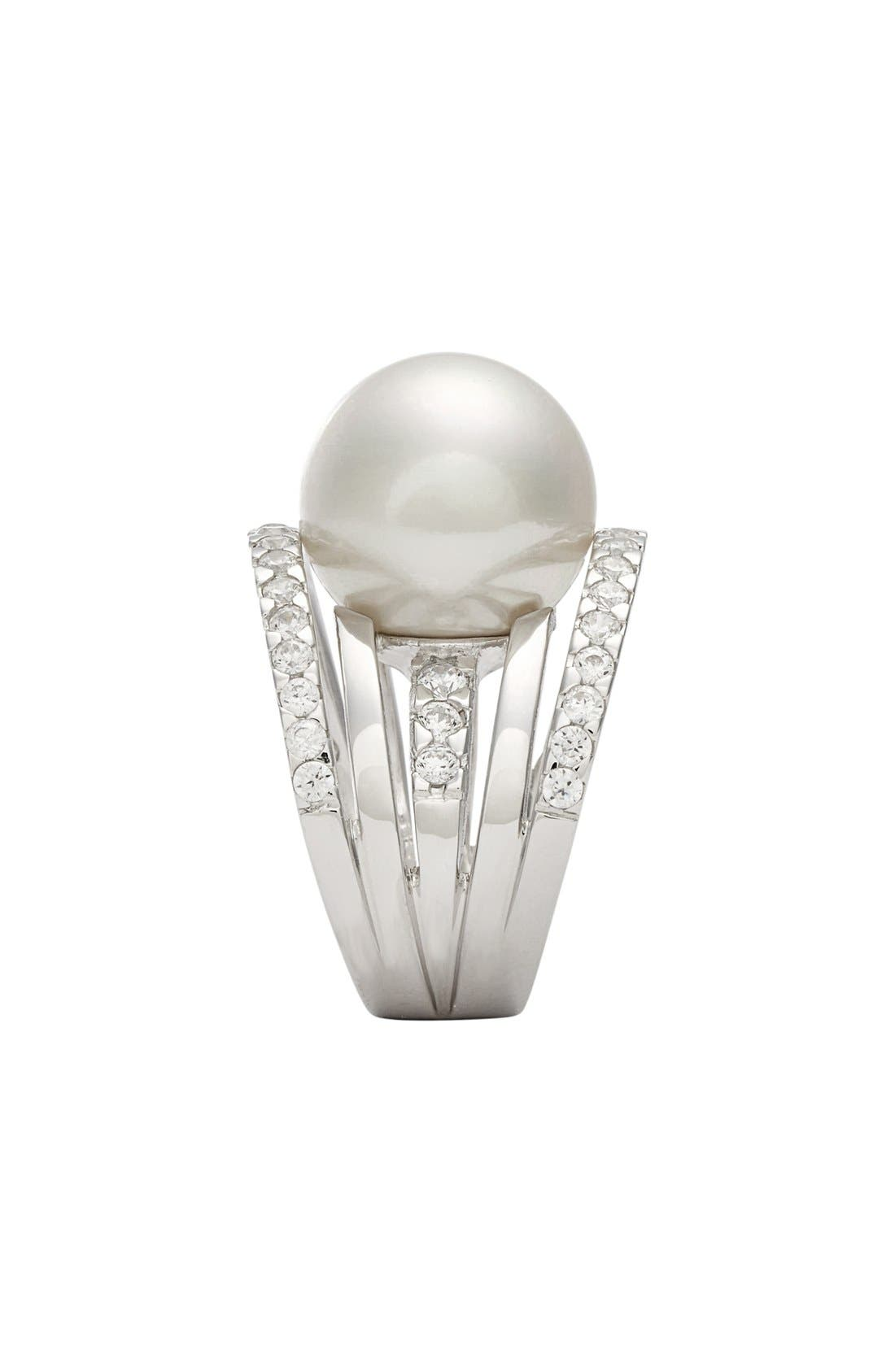 16mm Round Simulated Pearl Cubic Zirconia Ring,                             Alternate thumbnail 2, color,