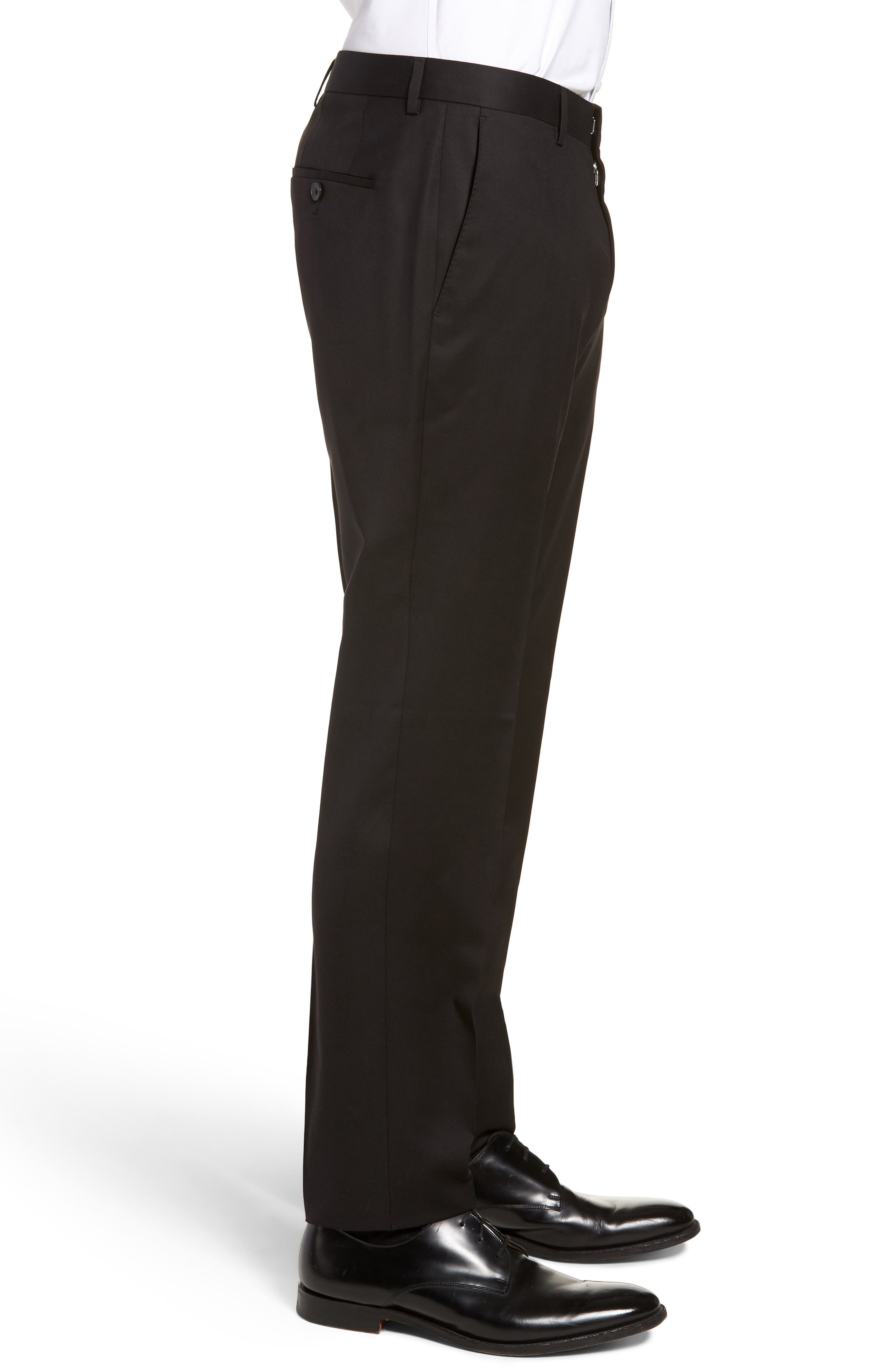 BOSS,                             Gibson CYL Flat Front Solid Wool Trousers,                             Alternate thumbnail 3, color,                             BLACK