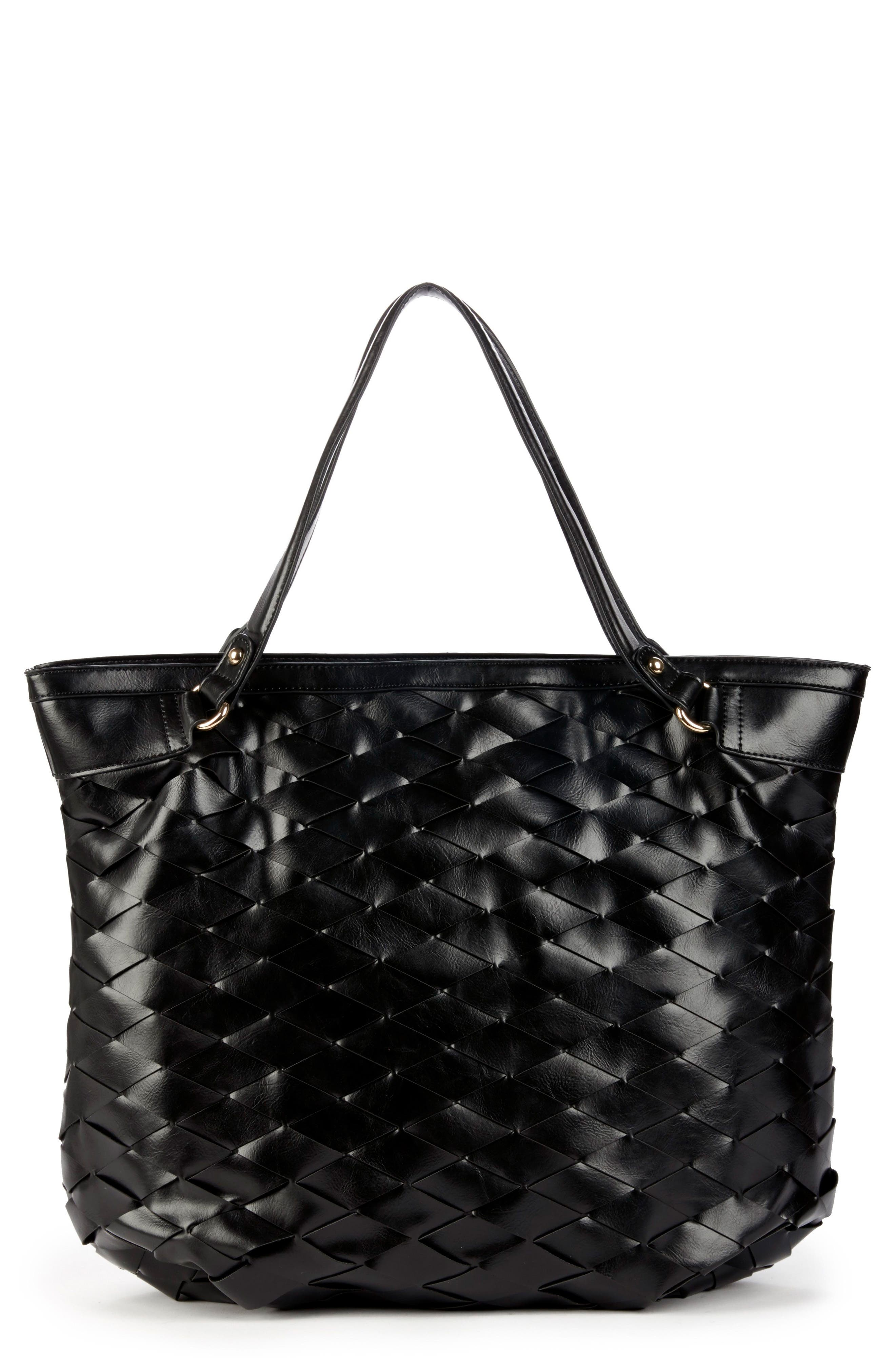 Adrina Faux Leather Tote,                         Main,                         color, BLACK