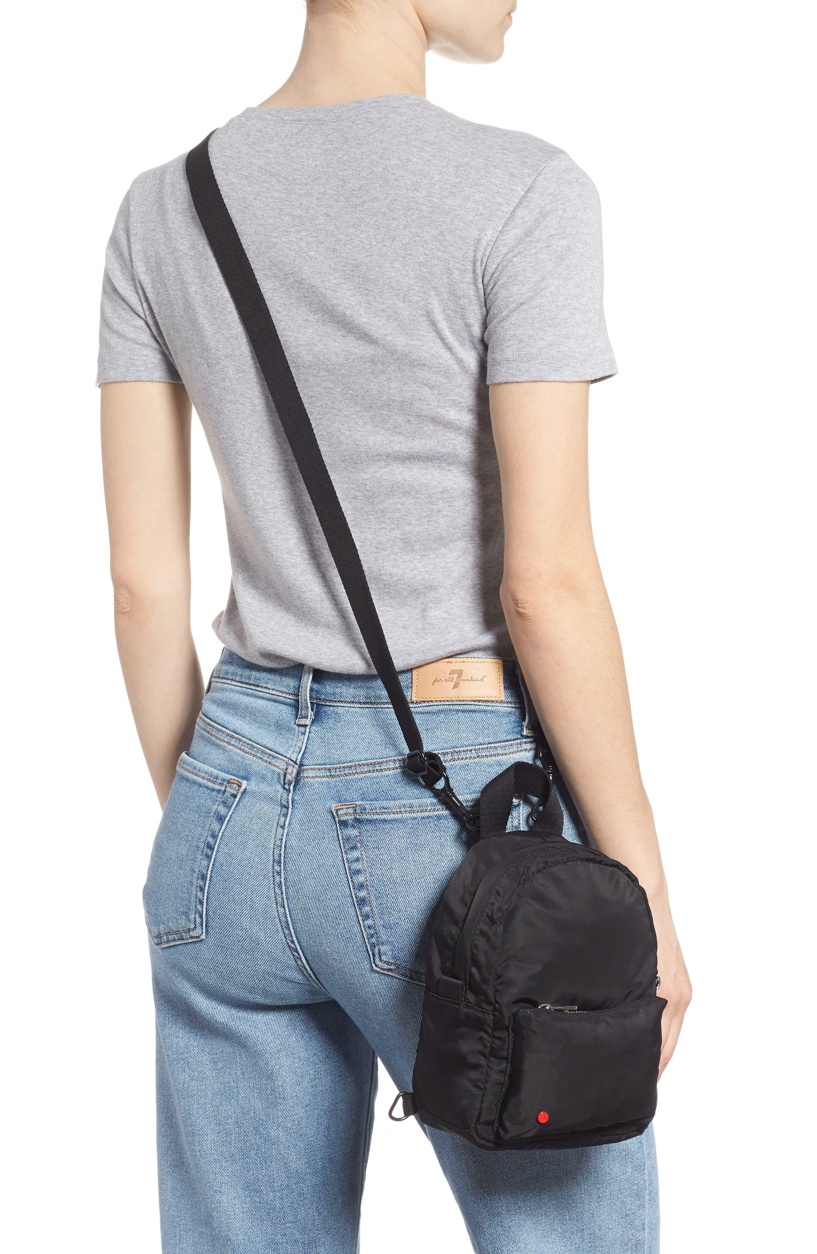 Mini Hart Convertible Nylon Backpack,                             Alternate thumbnail 3, color,                             BLACK