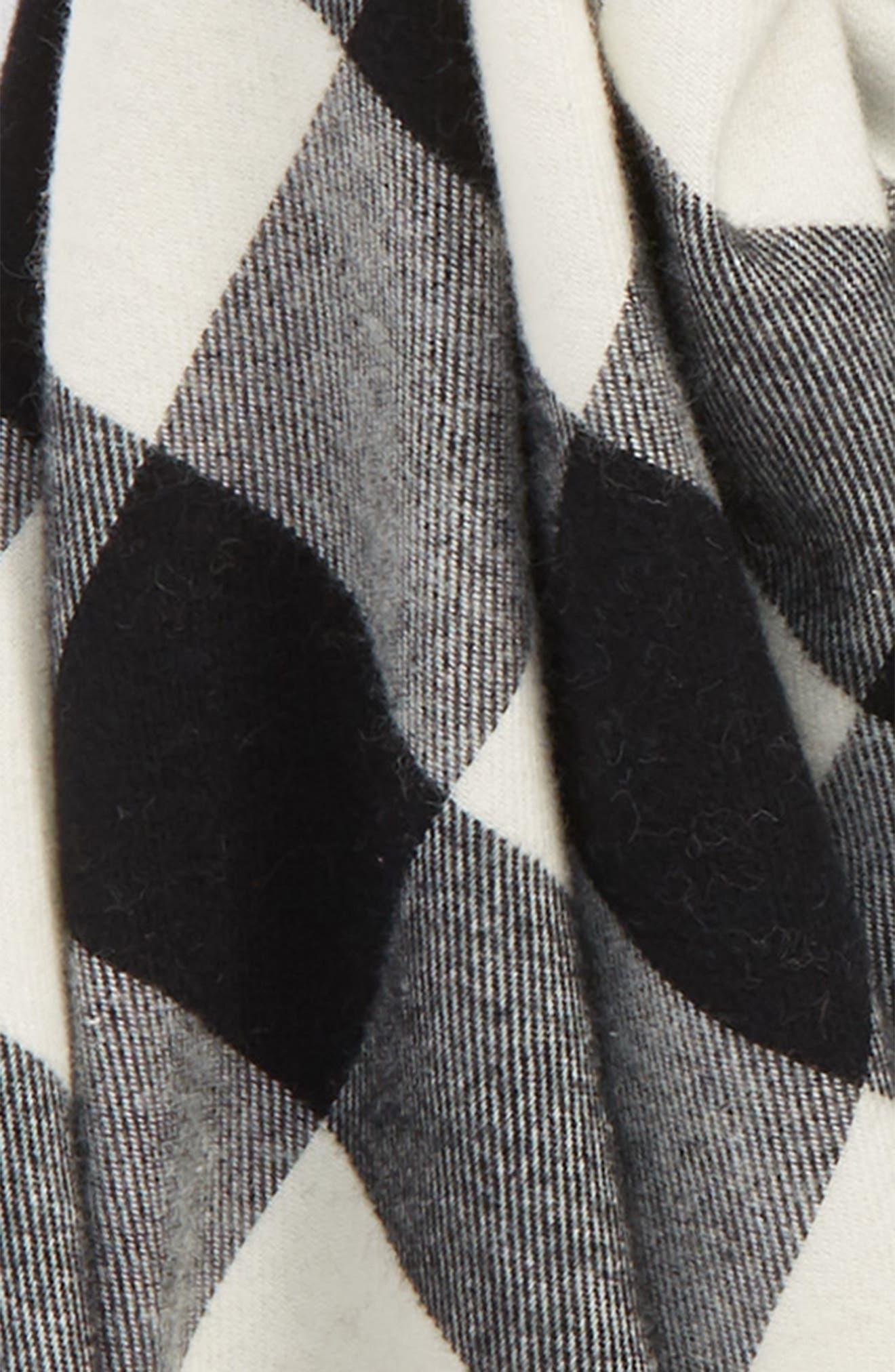 Buffalo Check Scarf,                             Alternate thumbnail 3, color,                             BLACK/ CREAM