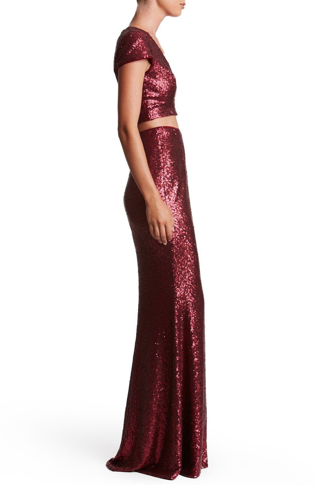Cara Sequin Two-Piece Gown,                             Alternate thumbnail 12, color,