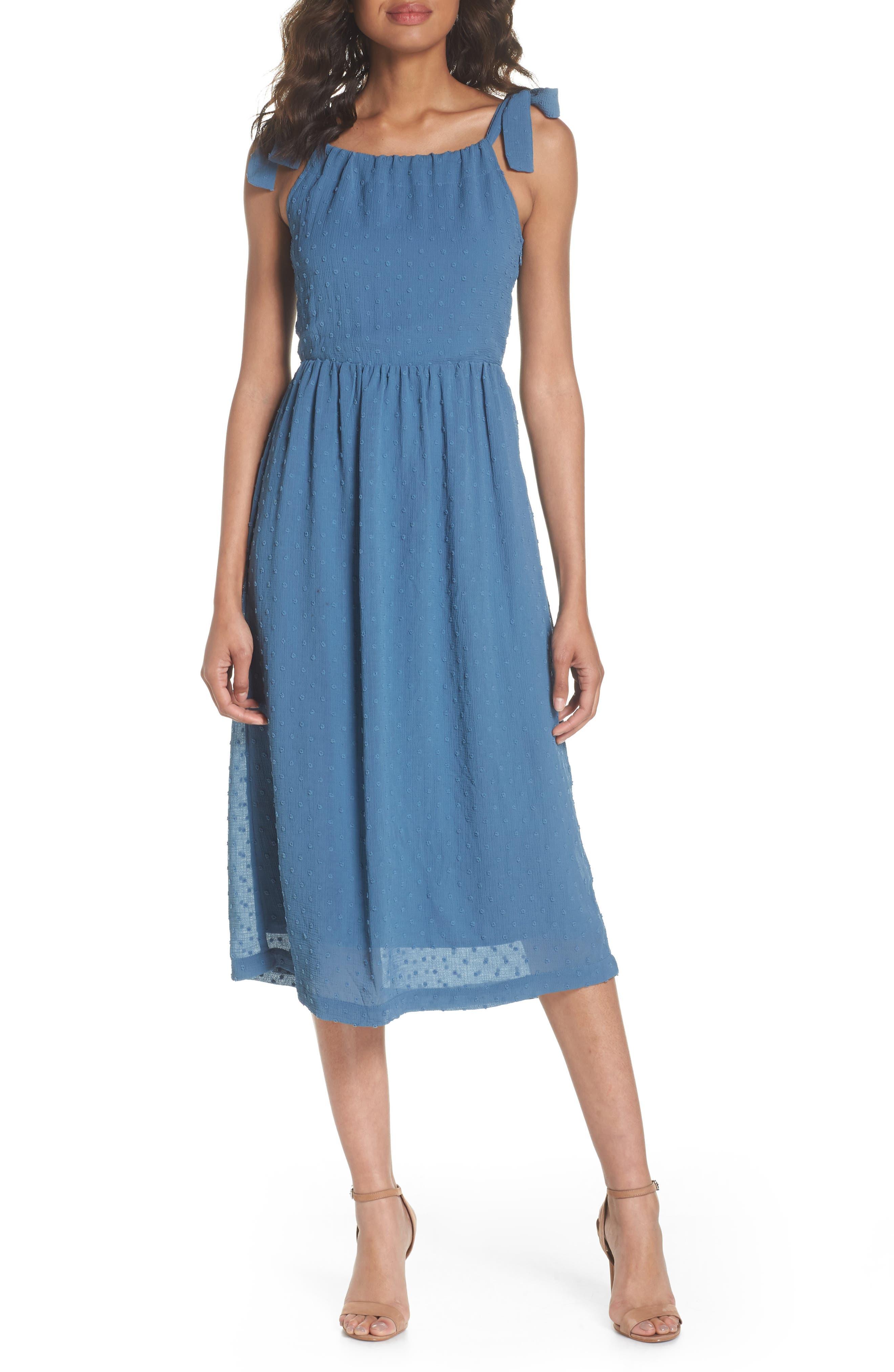 Tie Shoulder Midi Dress,                             Alternate thumbnail 6, color,                             400