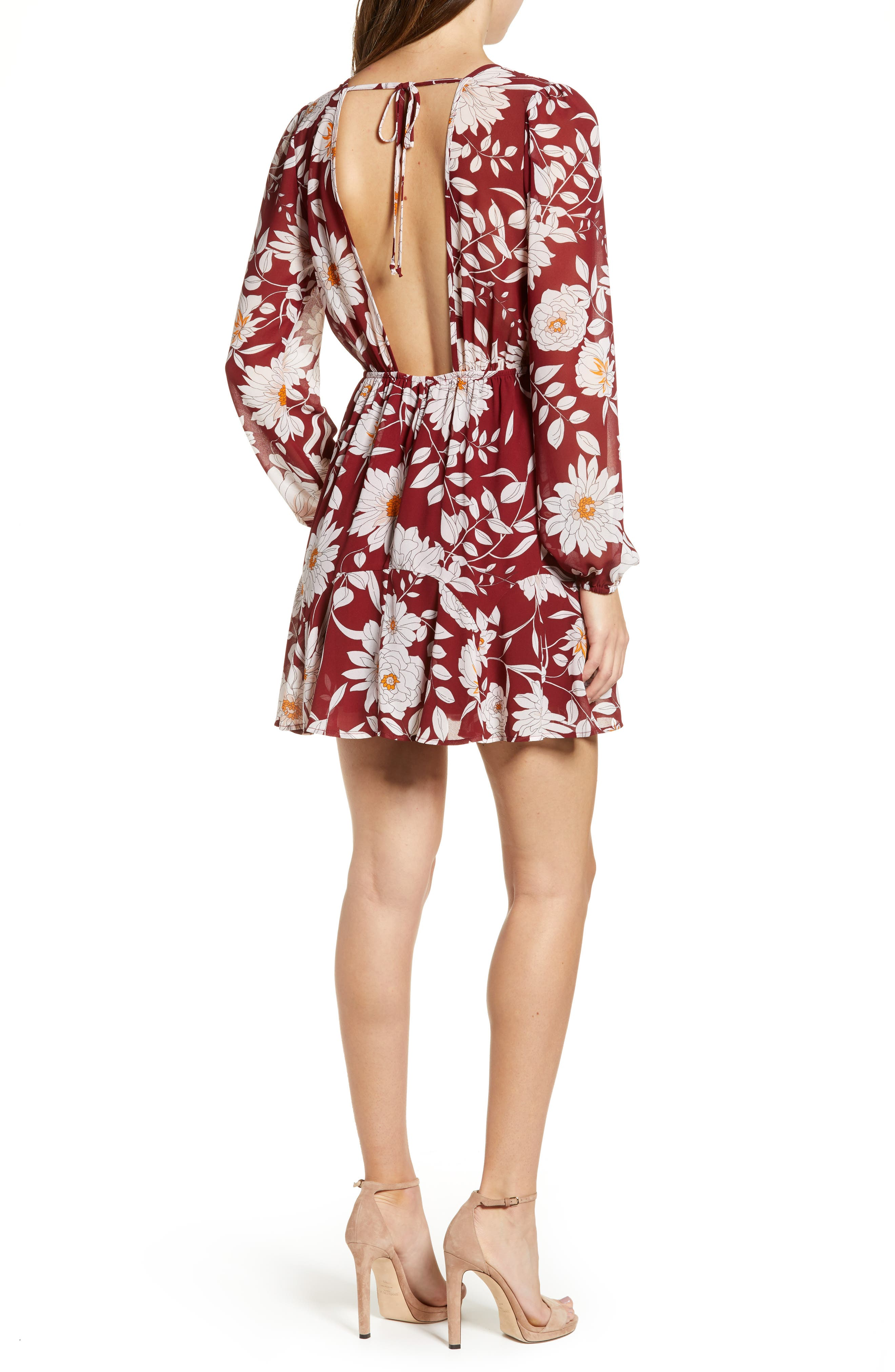 ROW A,                             Floral Print Minidress,                             Alternate thumbnail 2, color,                             RED FLORAL