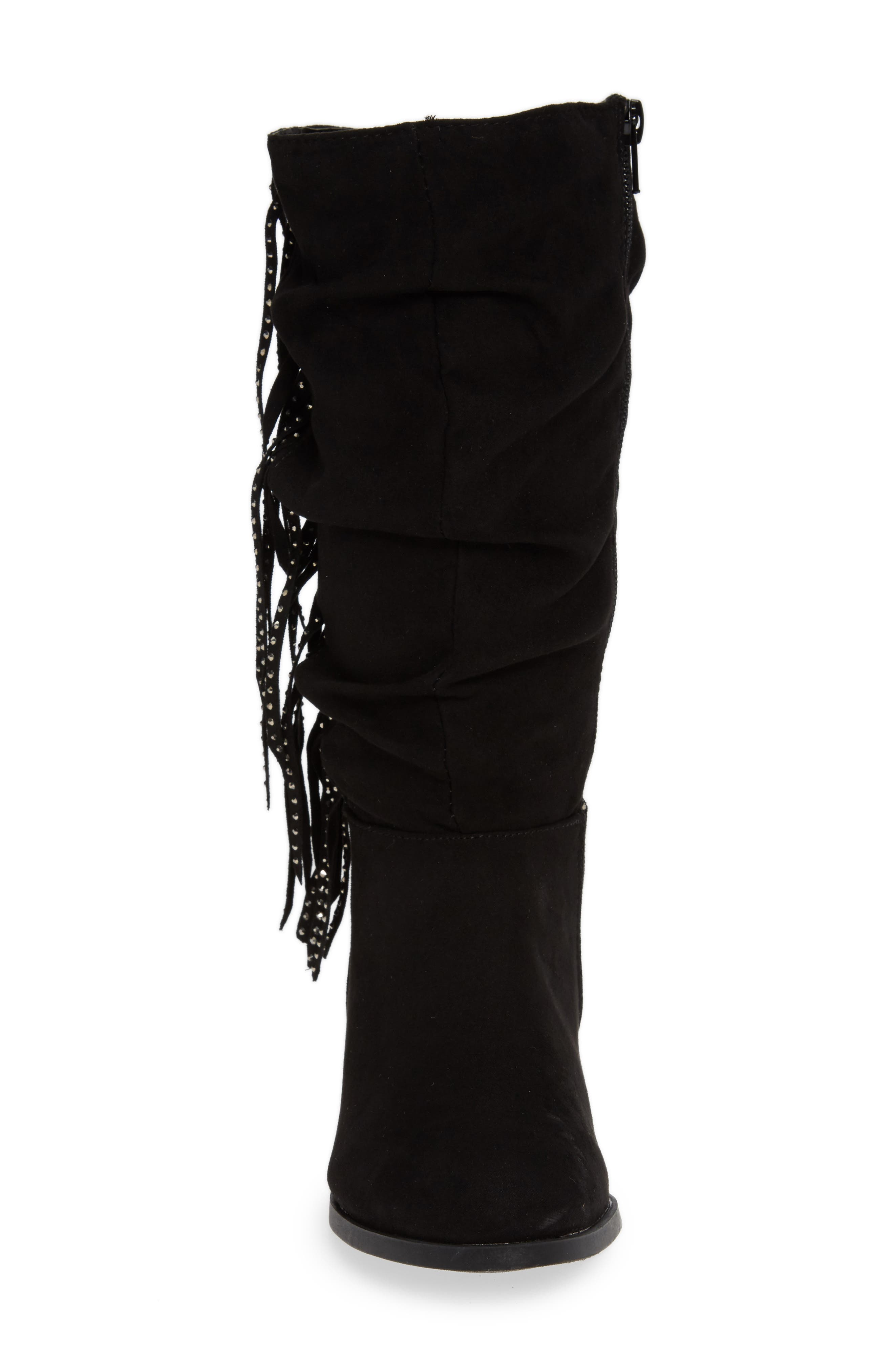 Jfringly Slouchy Fringed Boot,                             Alternate thumbnail 4, color,                             BLACK MICRO