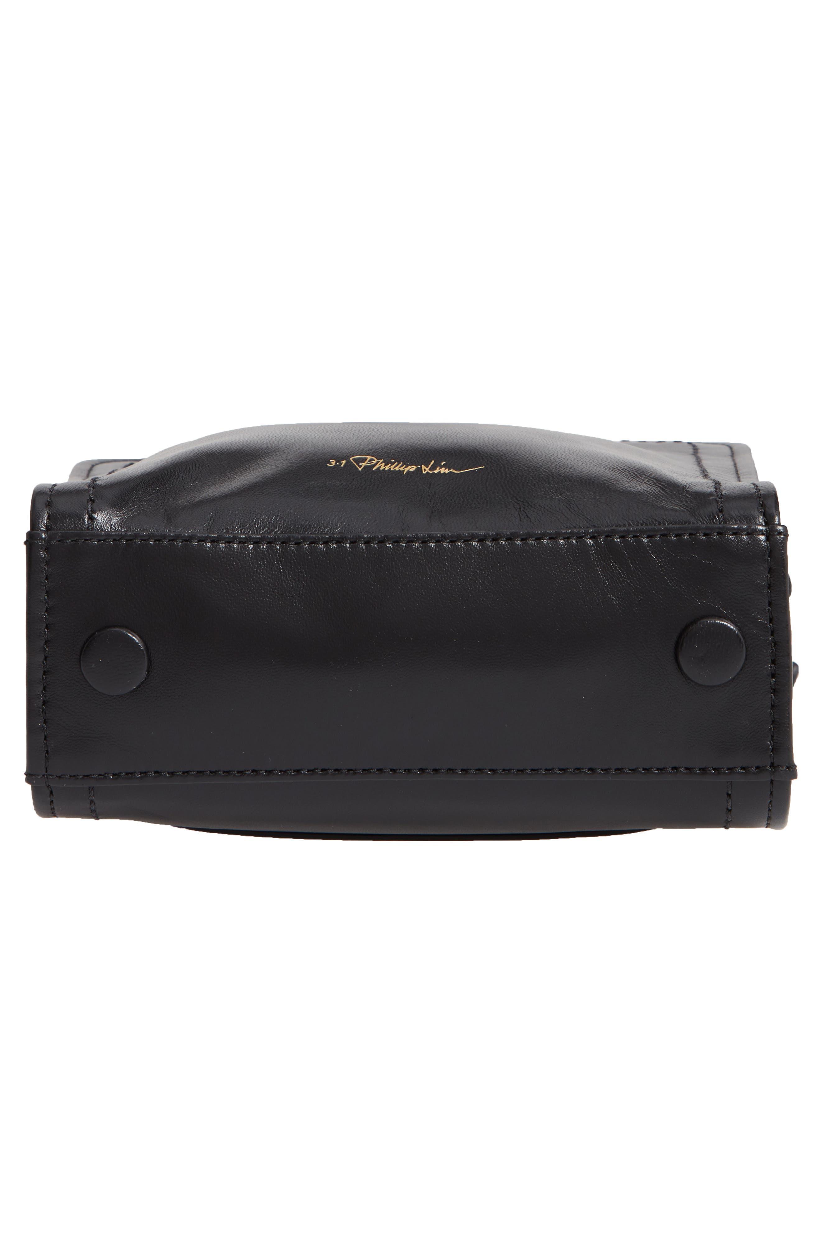 Hudson Mini Square Leather Crossbody Bag,                             Alternate thumbnail 6, color,                             001