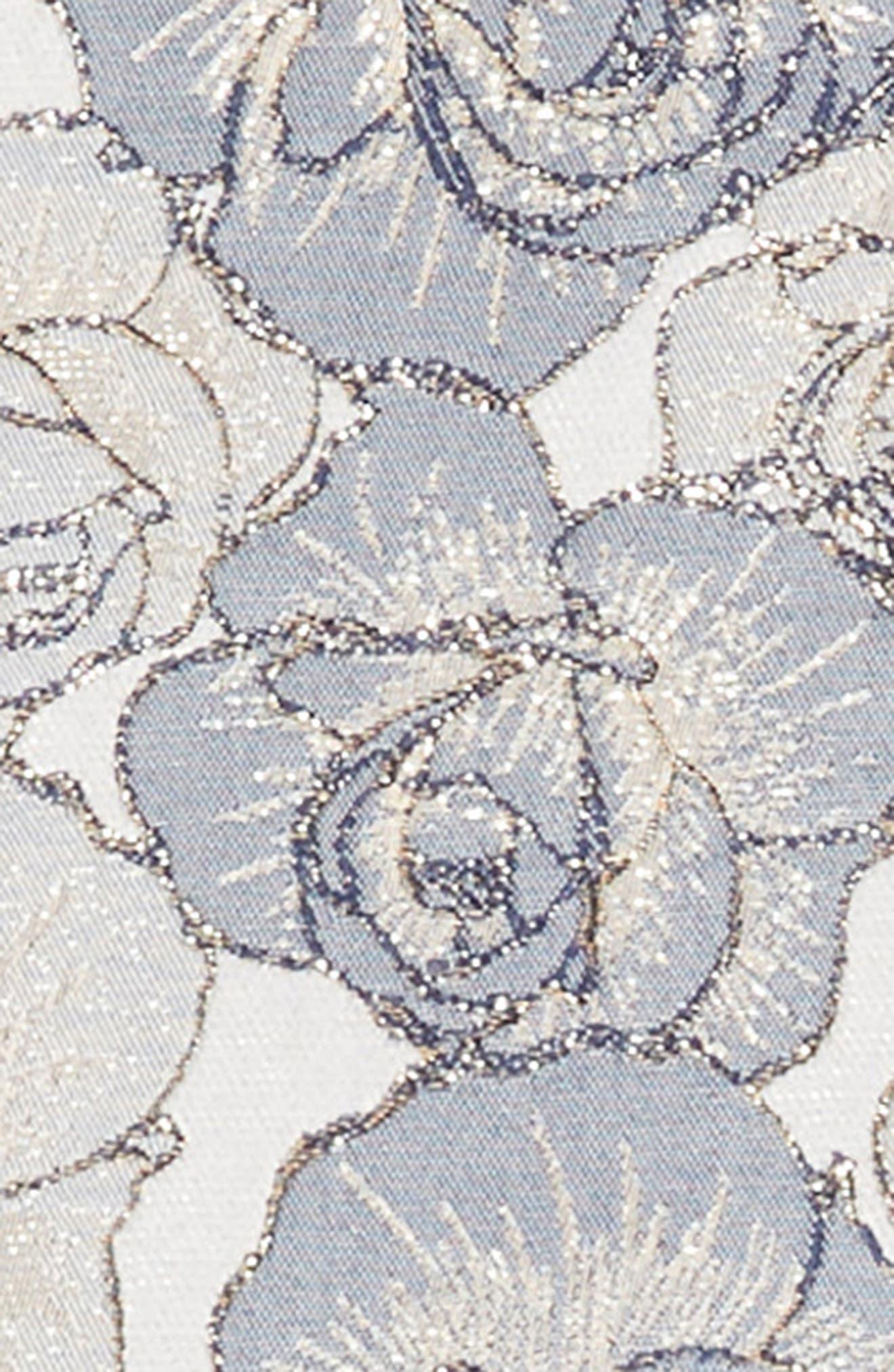 Floral Brocade Fit & Flare Dress,                             Alternate thumbnail 3, color,                             486
