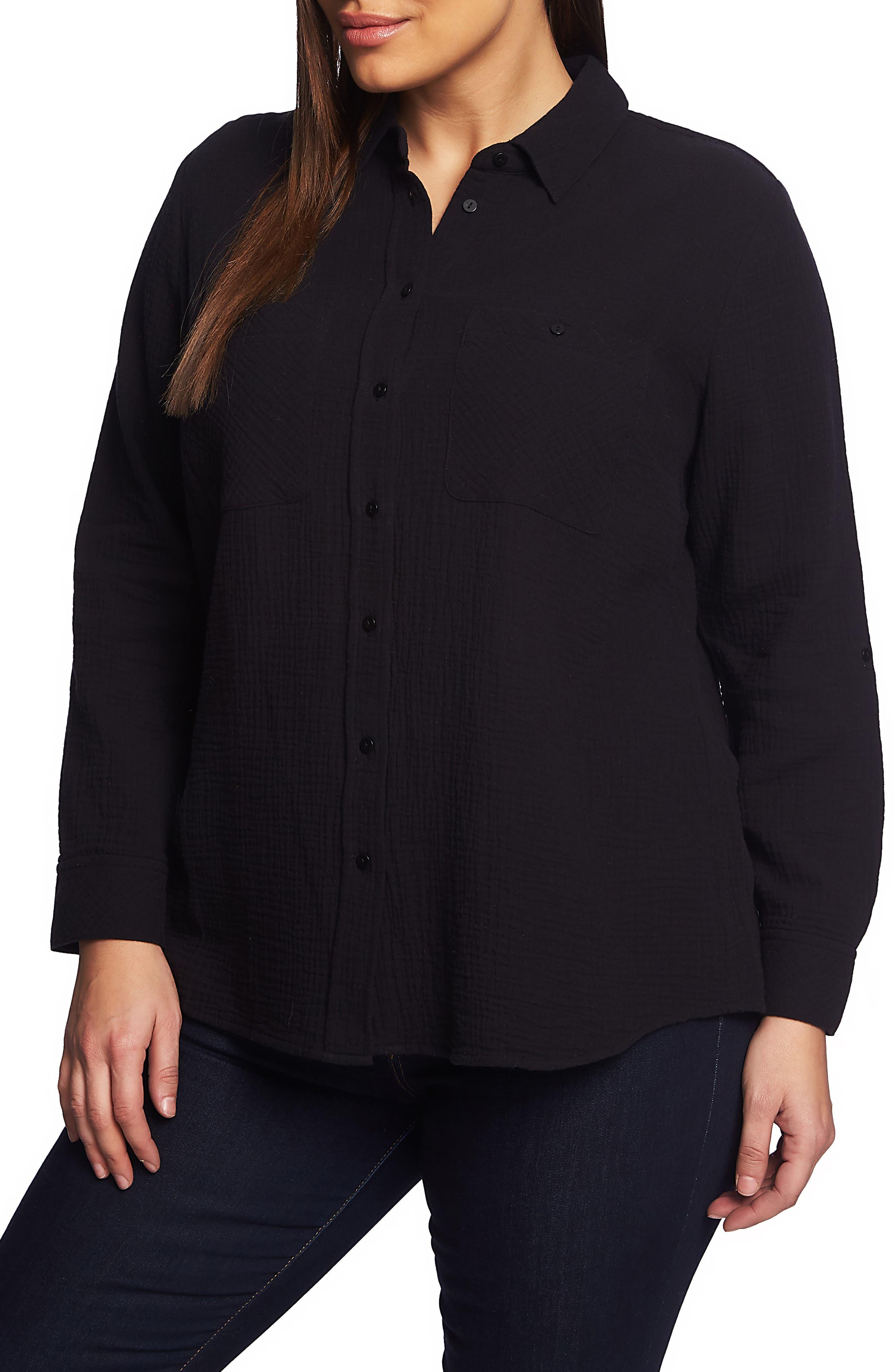 1.STATE,                             Double Gauze Shirt,                             Main thumbnail 1, color,                             RICH BLACK