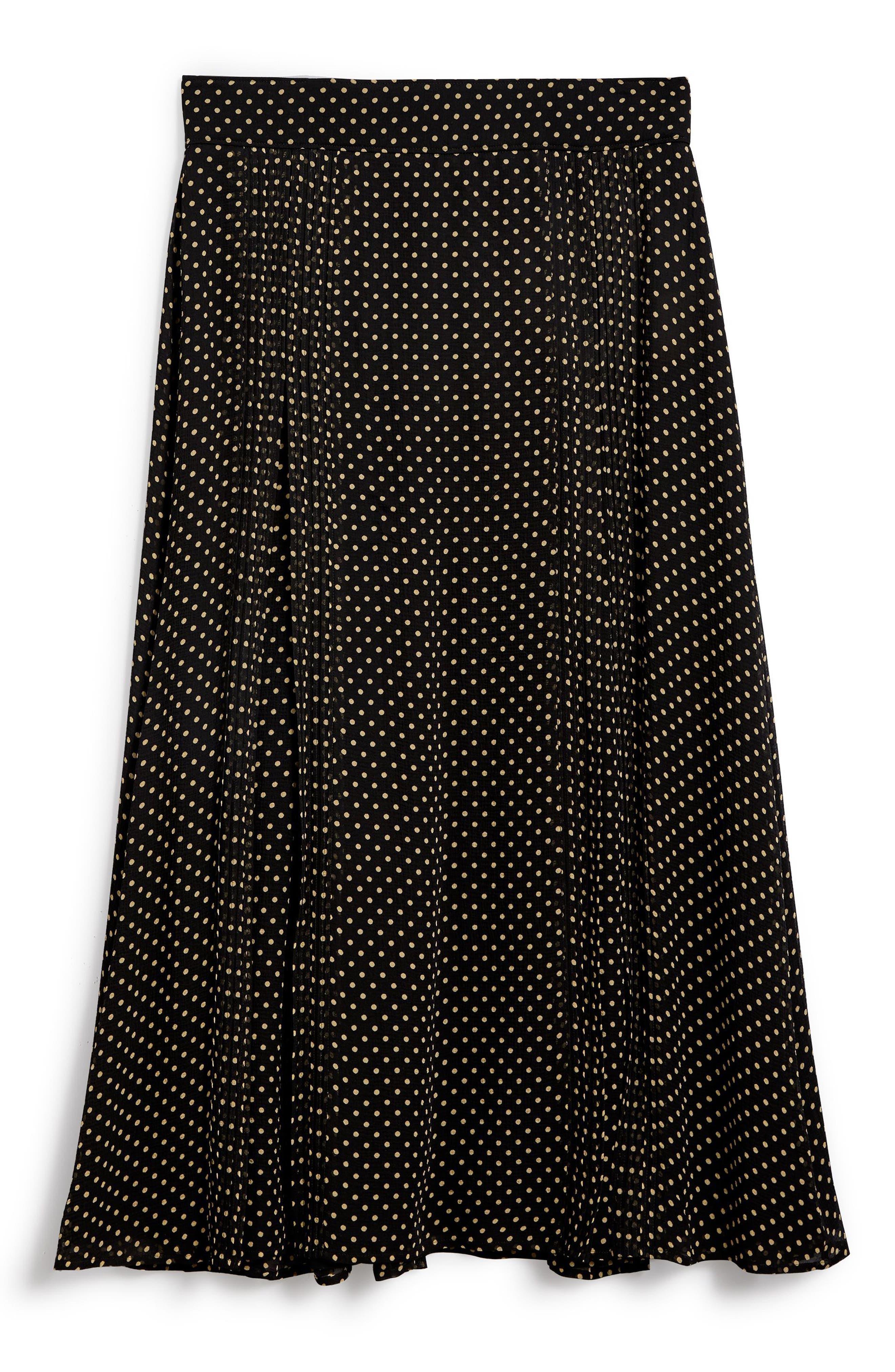 Fine Pintuck Dot Print Silk Skirt,                             Alternate thumbnail 4, color,