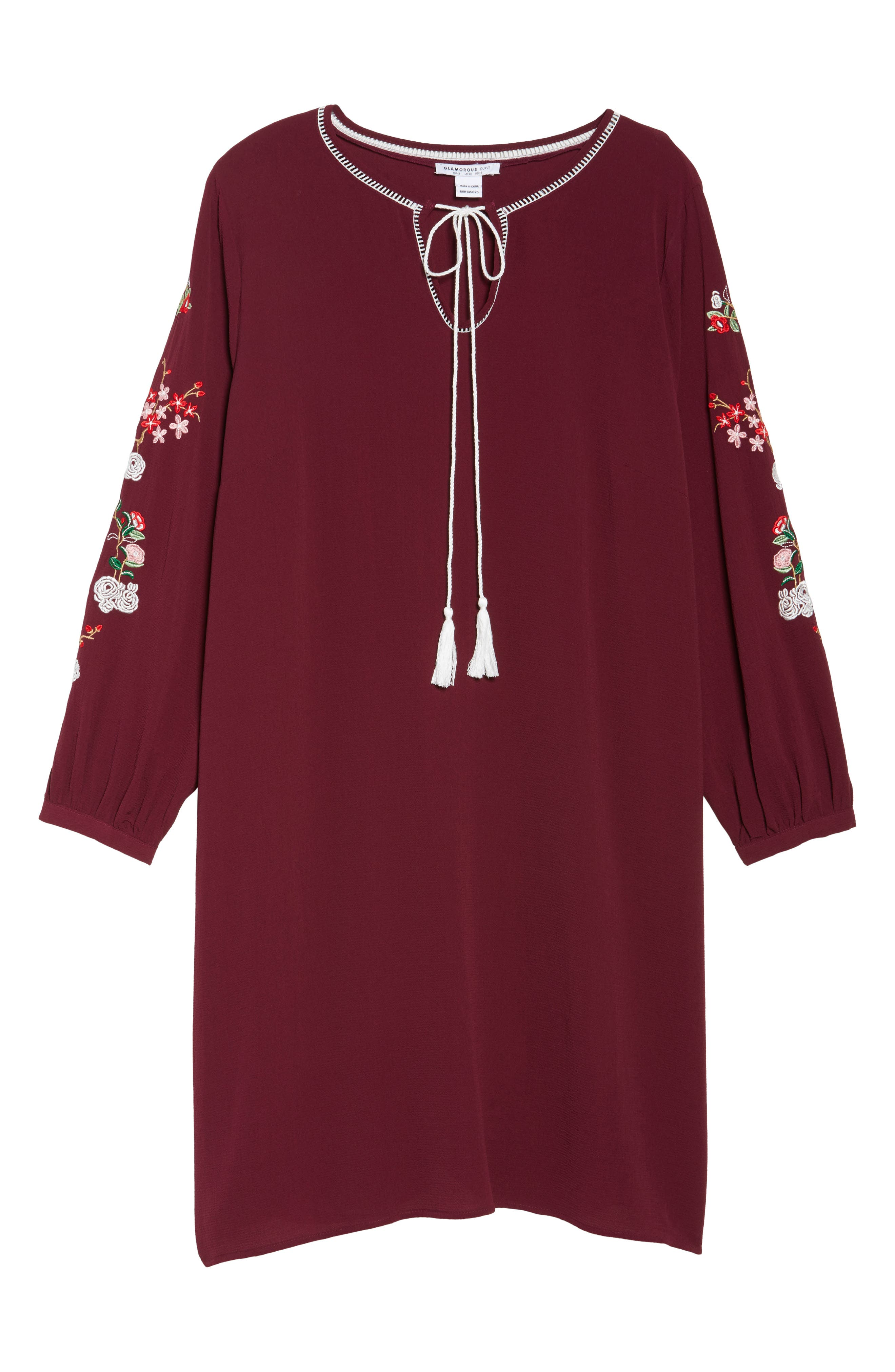 Floral Embroidered Shift Dress,                             Alternate thumbnail 12, color,