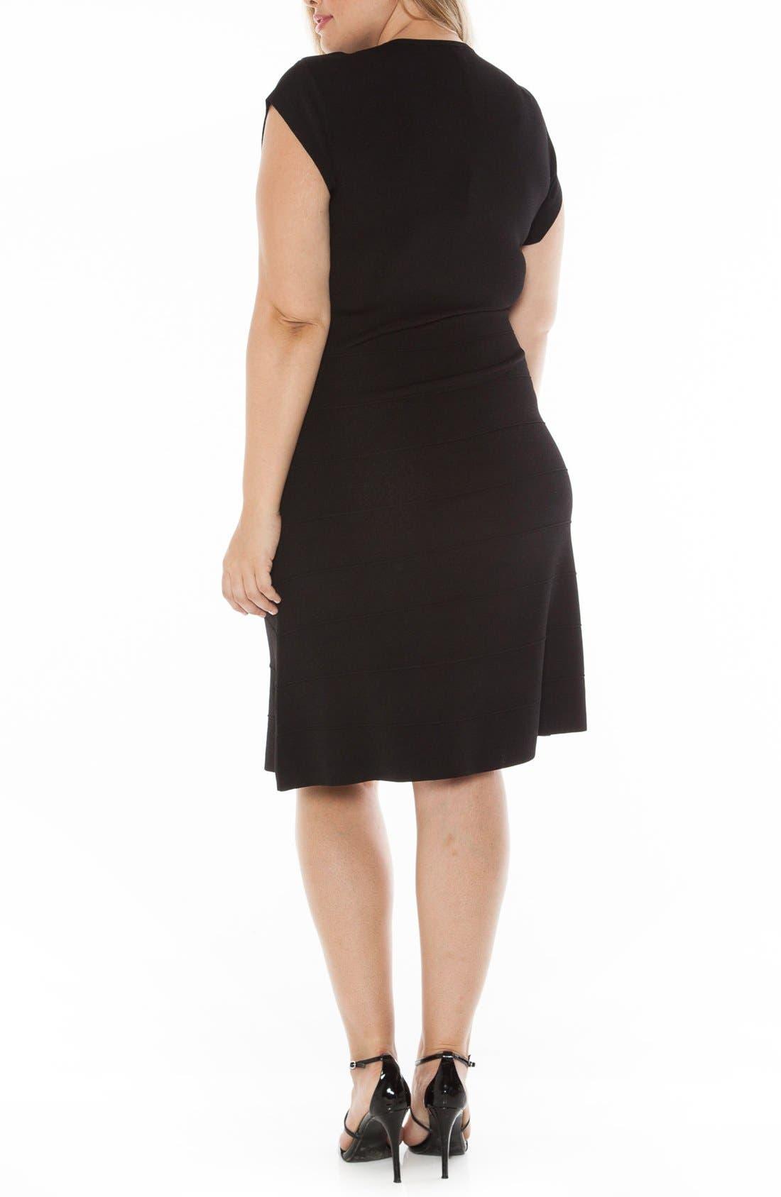 Cap Sleeve Knit A-Line Dress,                             Alternate thumbnail 2, color,                             001