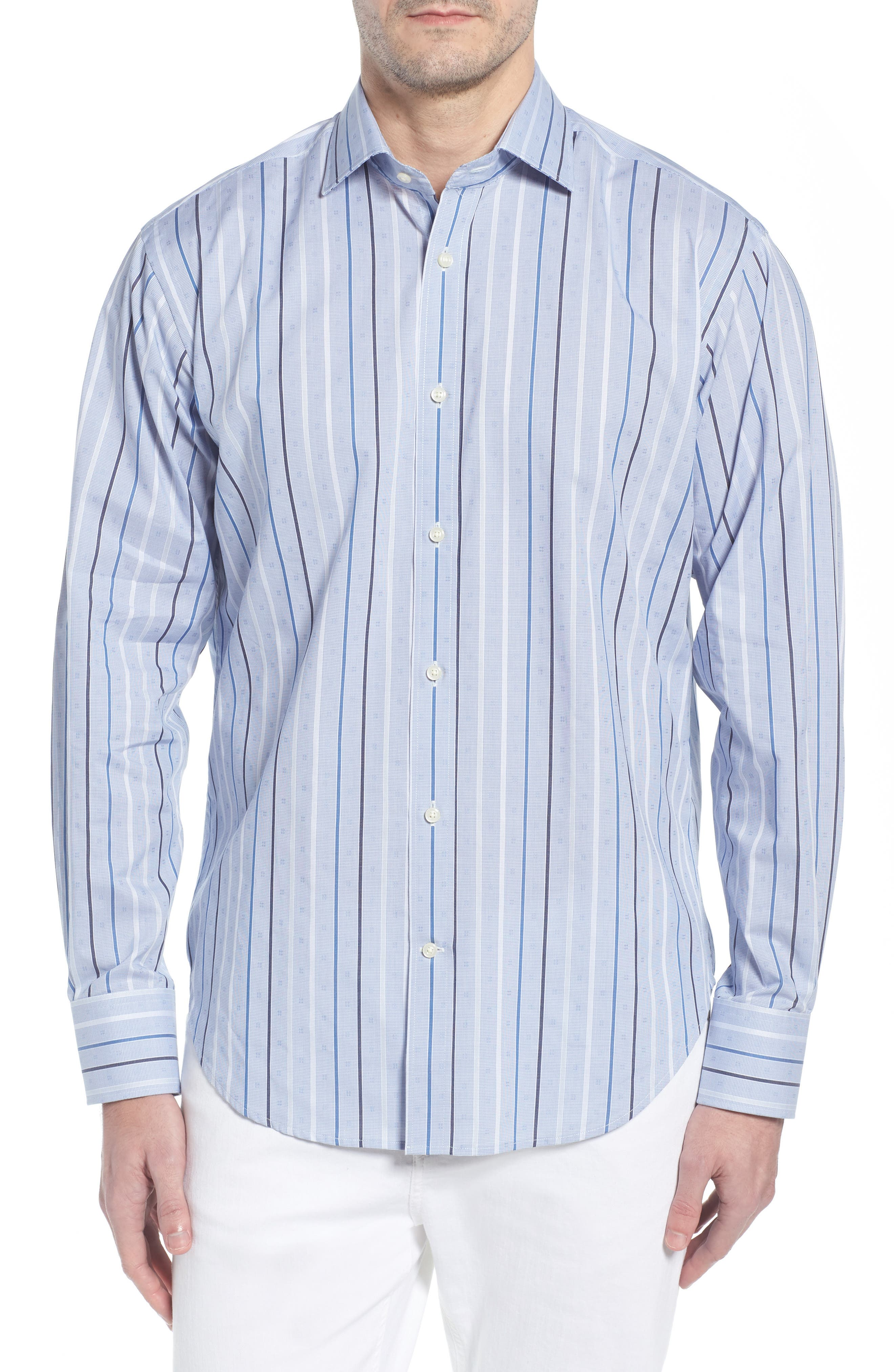 THOMAS DEAN,                             Regular Fit Check Sport Shirt,                             Main thumbnail 1, color,                             400