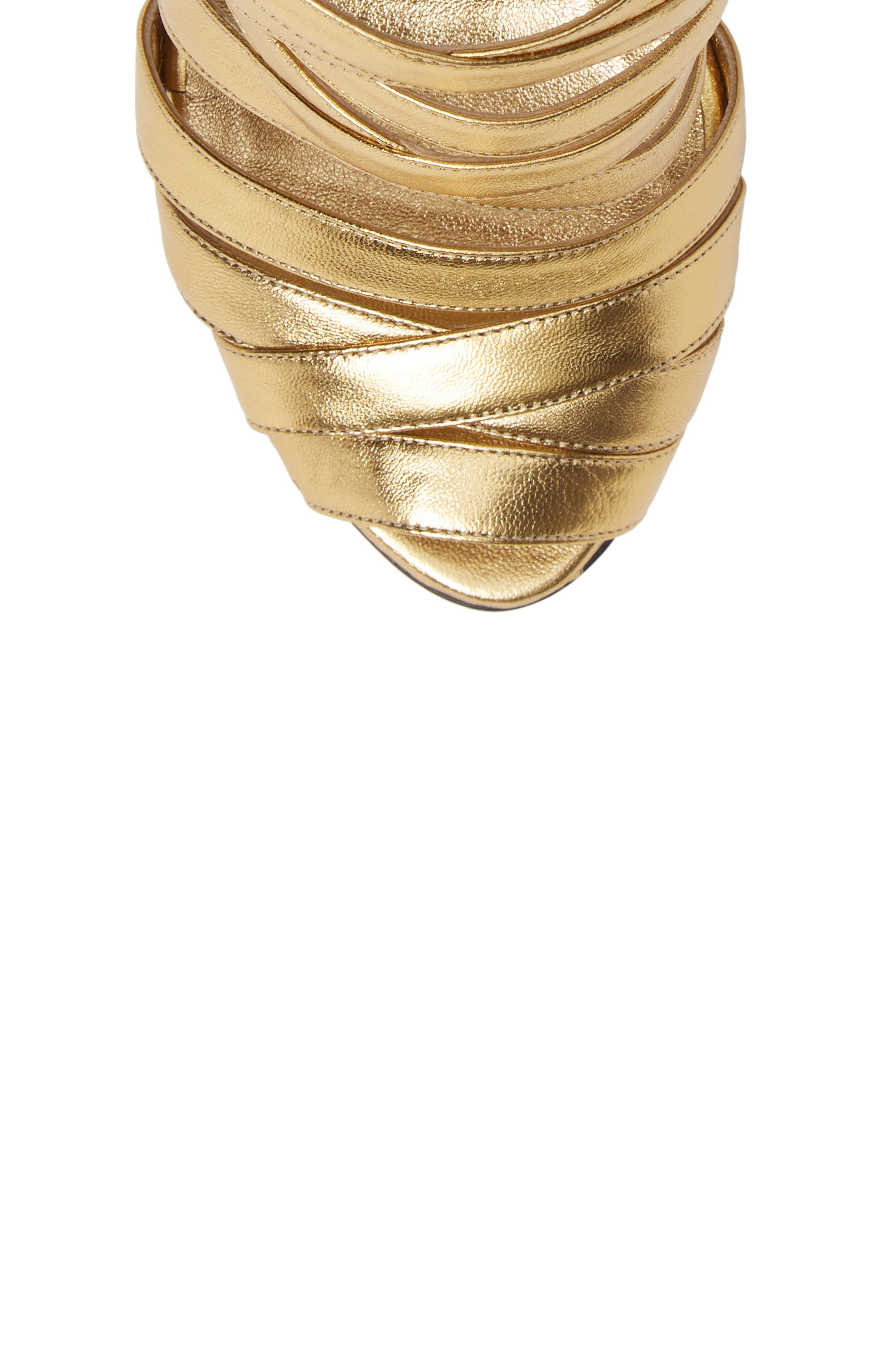 Nadege Strappy Pump,                             Alternate thumbnail 5, color,                             GOLD LEATHER