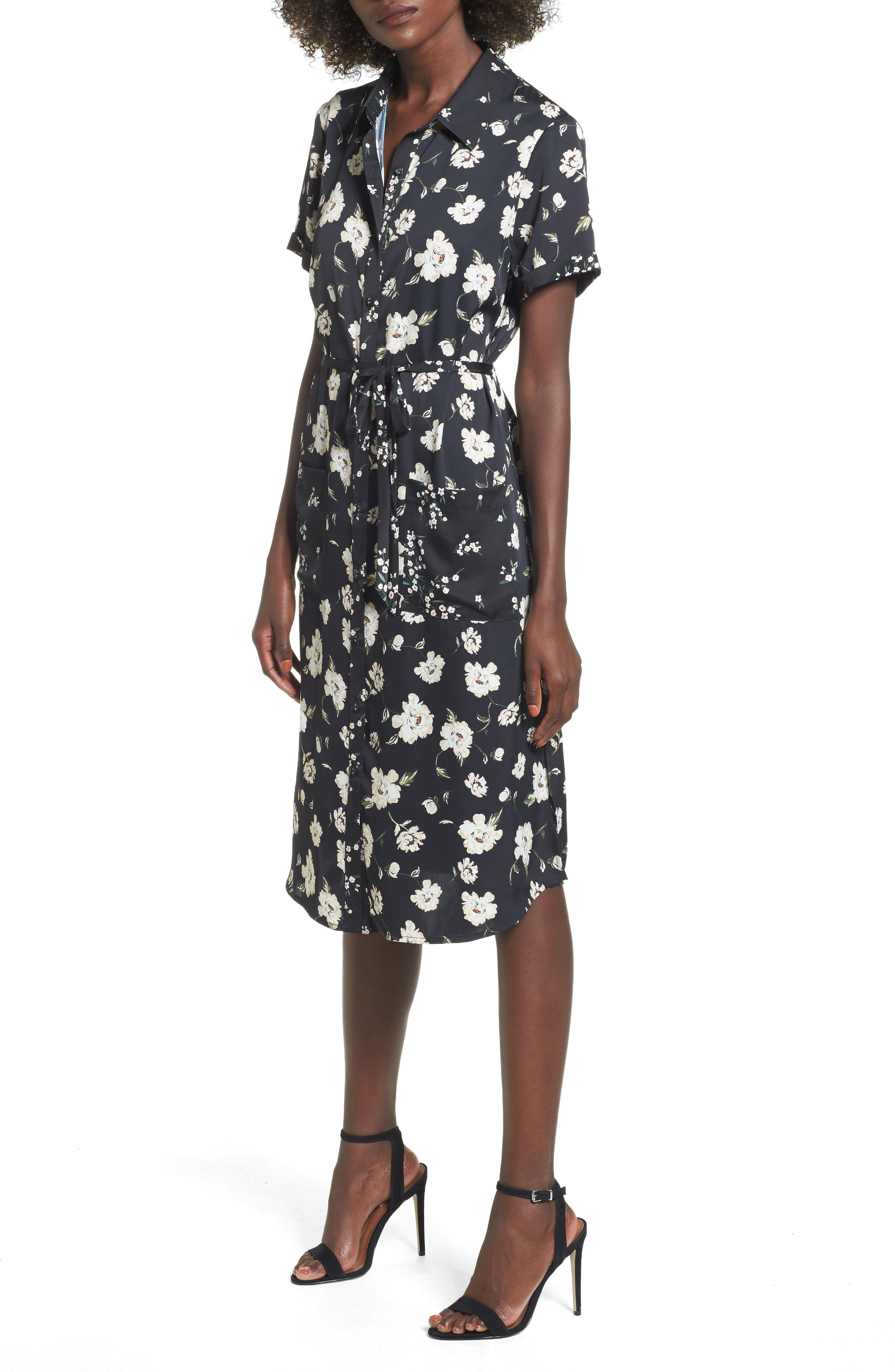 L'Academie The Shirt Dress Midi Dress,                             Main thumbnail 1, color,                             001