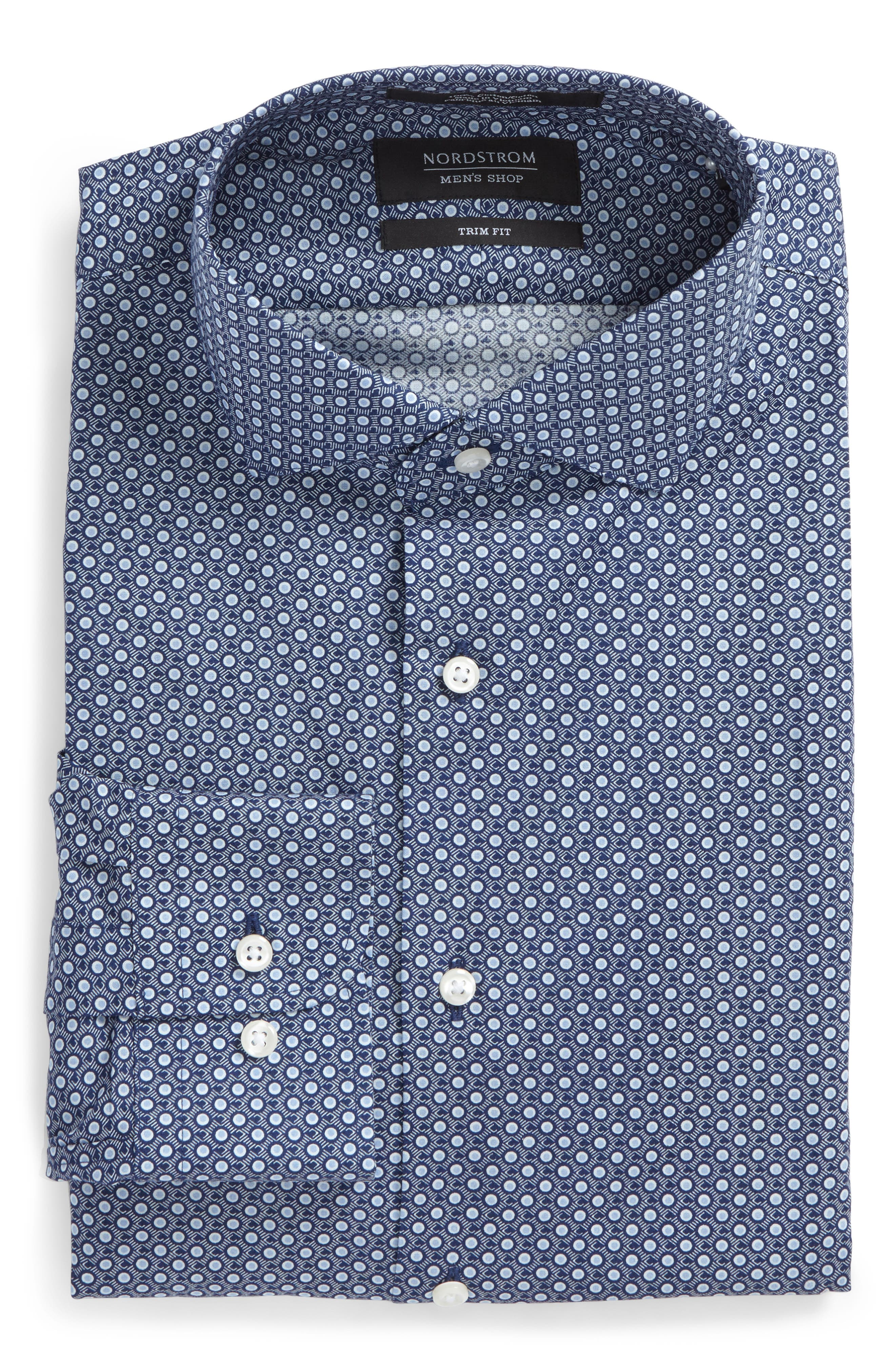 Trim Fit Dress Shirt,                             Main thumbnail 1, color,