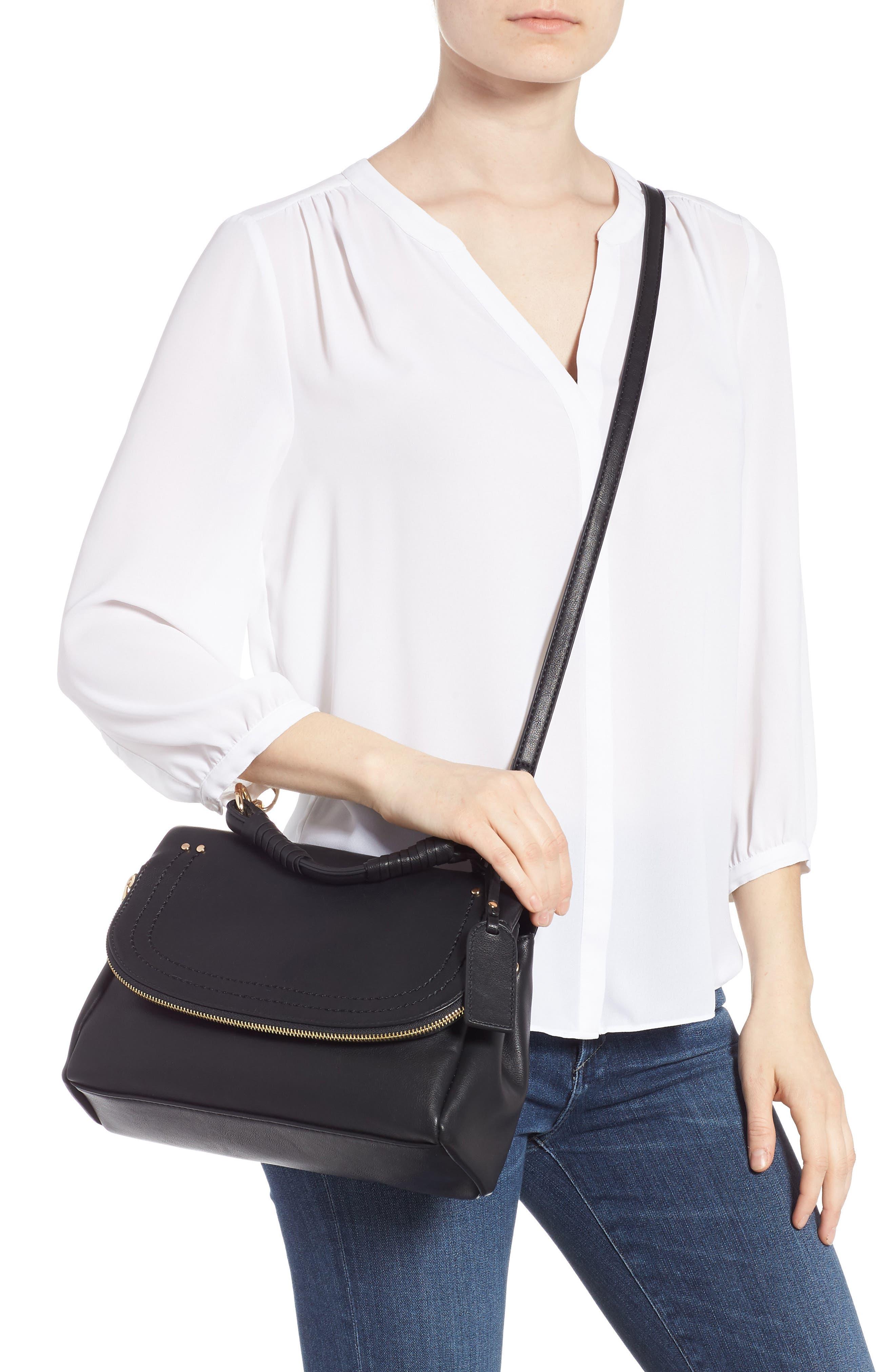 Rubie Faux Leather Crossbody Bag,                             Alternate thumbnail 2, color,                             BLACK