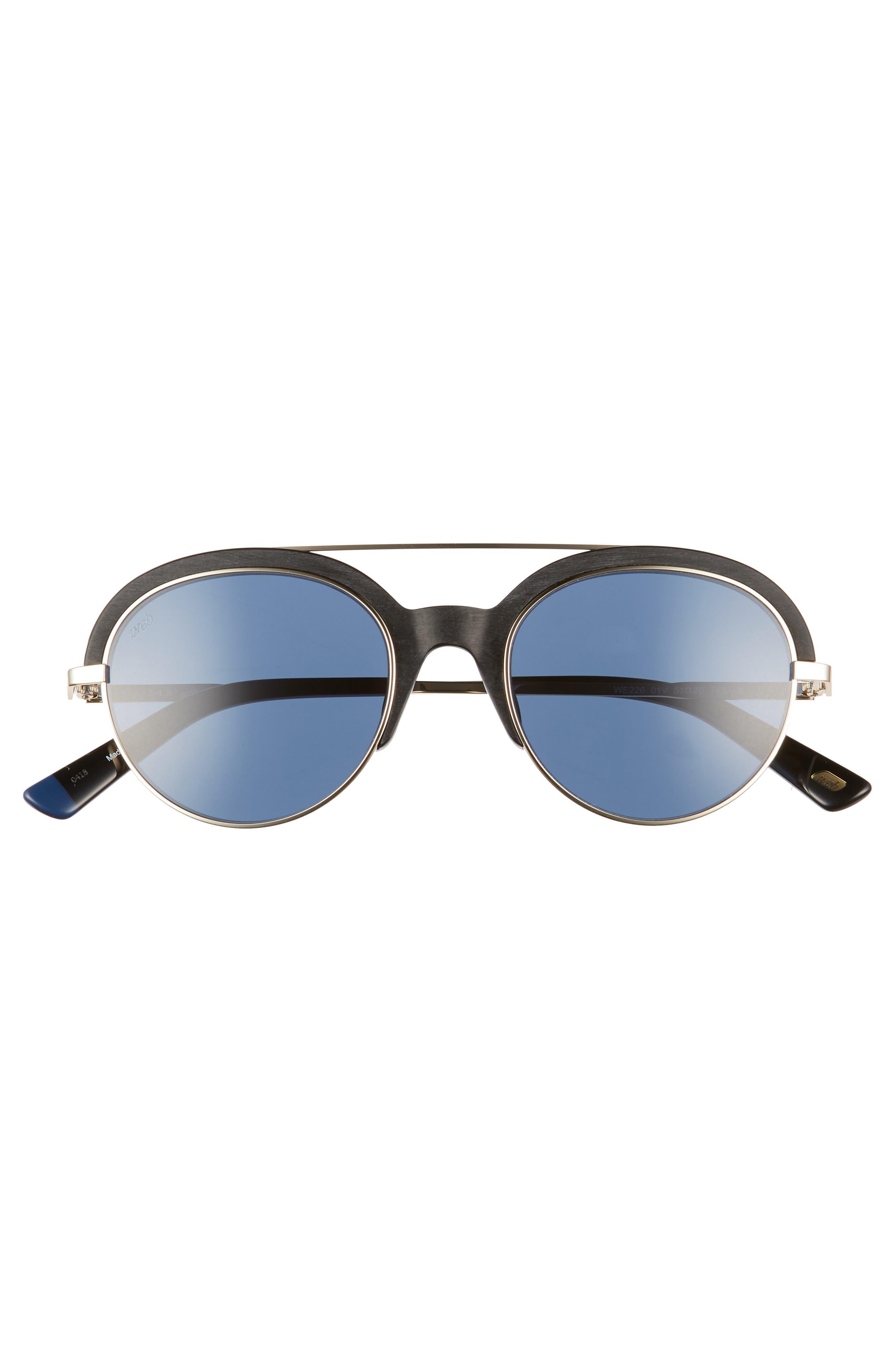 WEB,                             51mm Aviator Sunglasses,                             Alternate thumbnail 3, color,                             SHINY BLACK/ BLUE