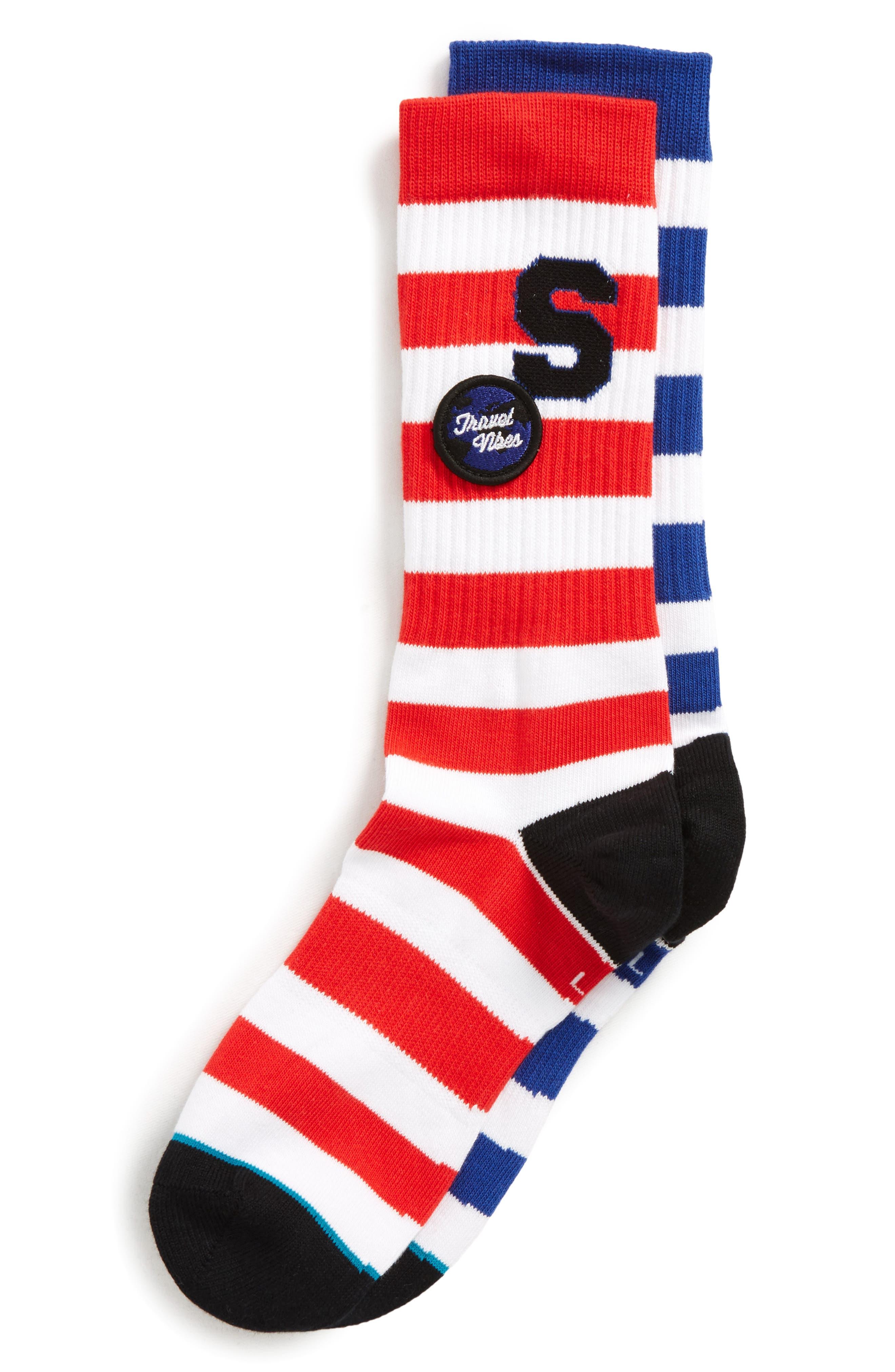 Staycation Stripe Socks,                             Alternate thumbnail 2, color,                             BLUE