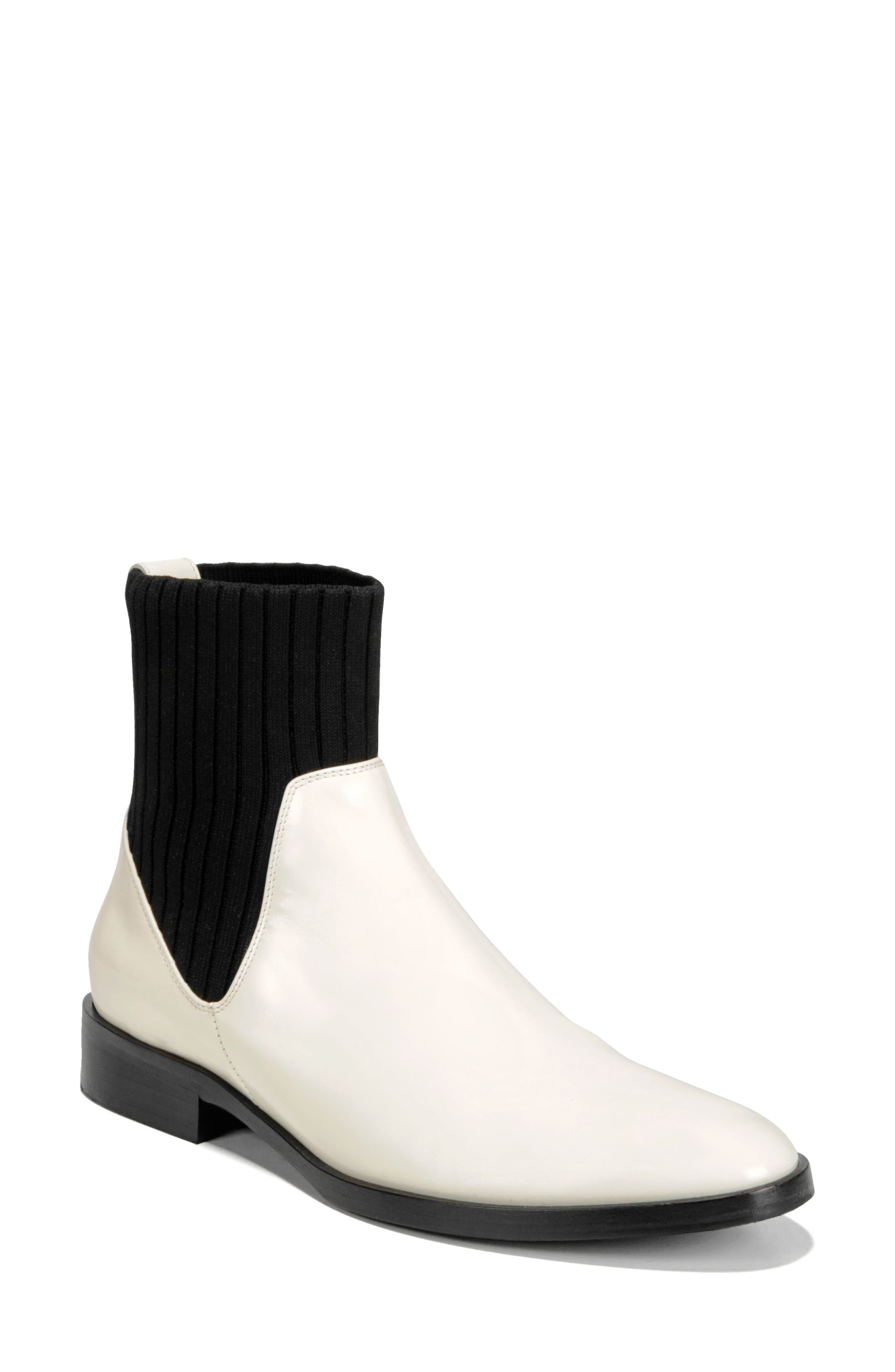 Perlow Sock Bootie,                             Main thumbnail 1, color,                             WHITE