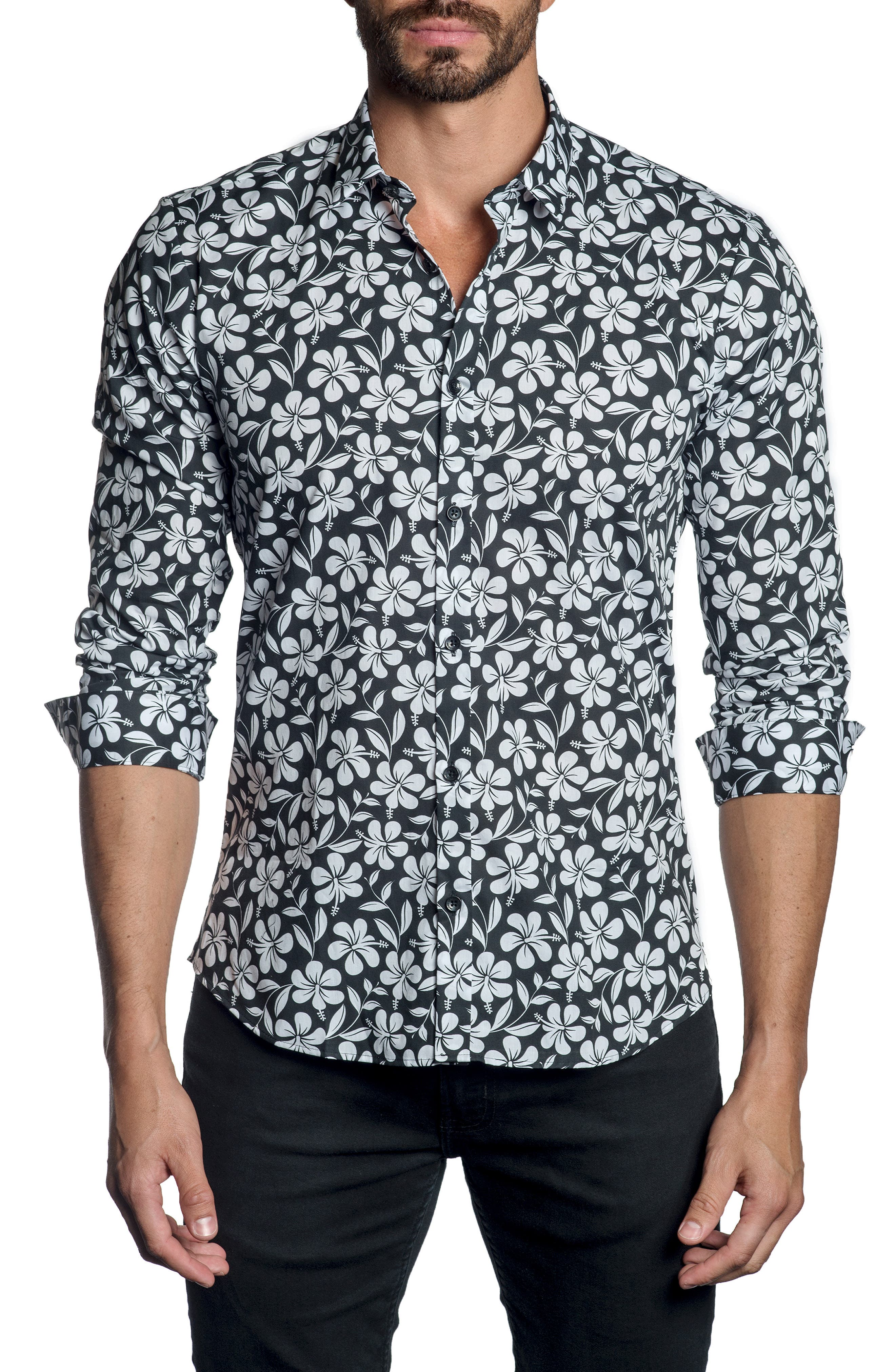 JARED LANG,                             Trim Fit Sport Shirt,                             Main thumbnail 1, color,                             BLACK FLORAL