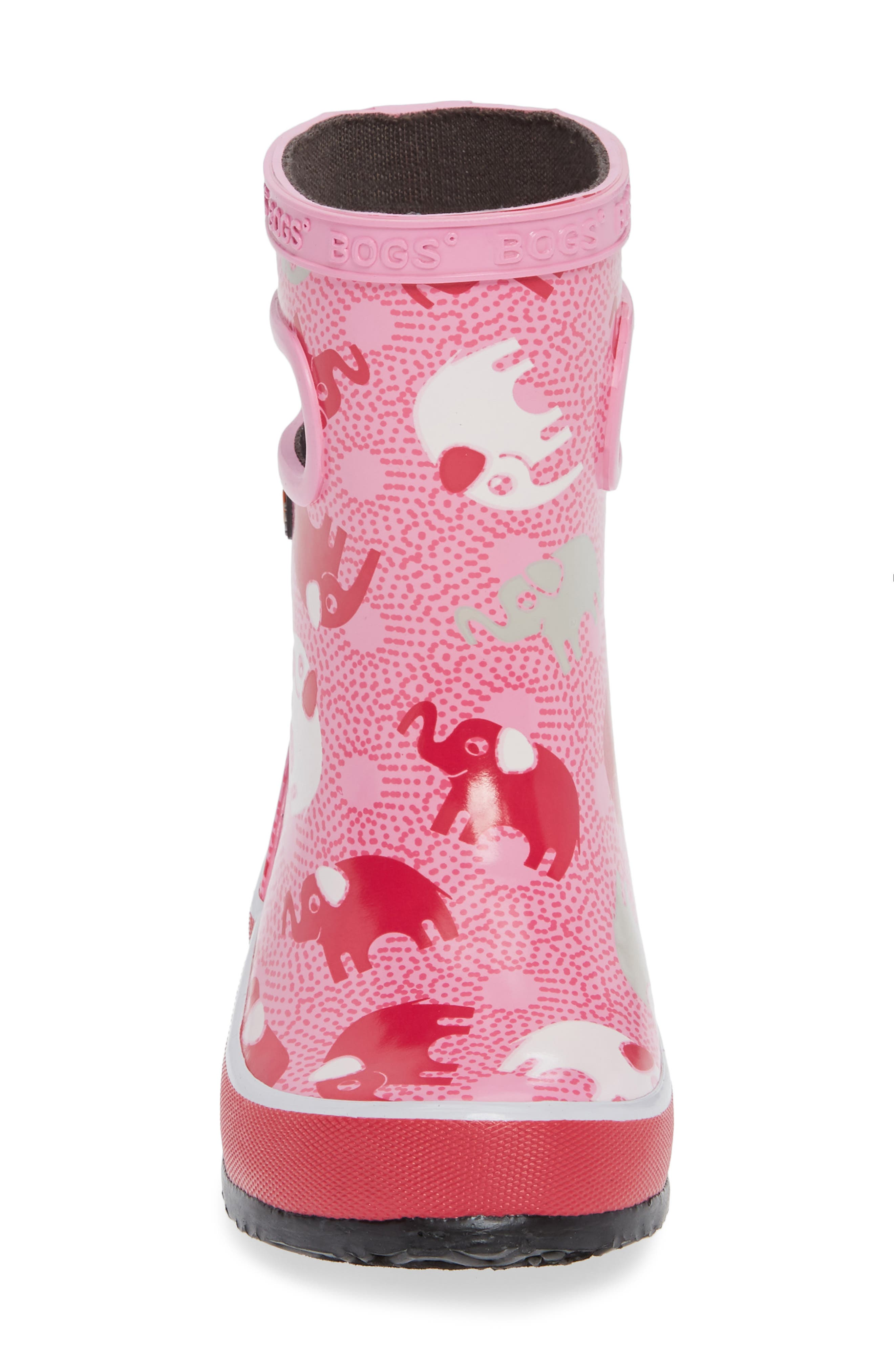 Skipper Elephant Print Rubber Rain Boot,                             Alternate thumbnail 4, color,                             PINK MULTI