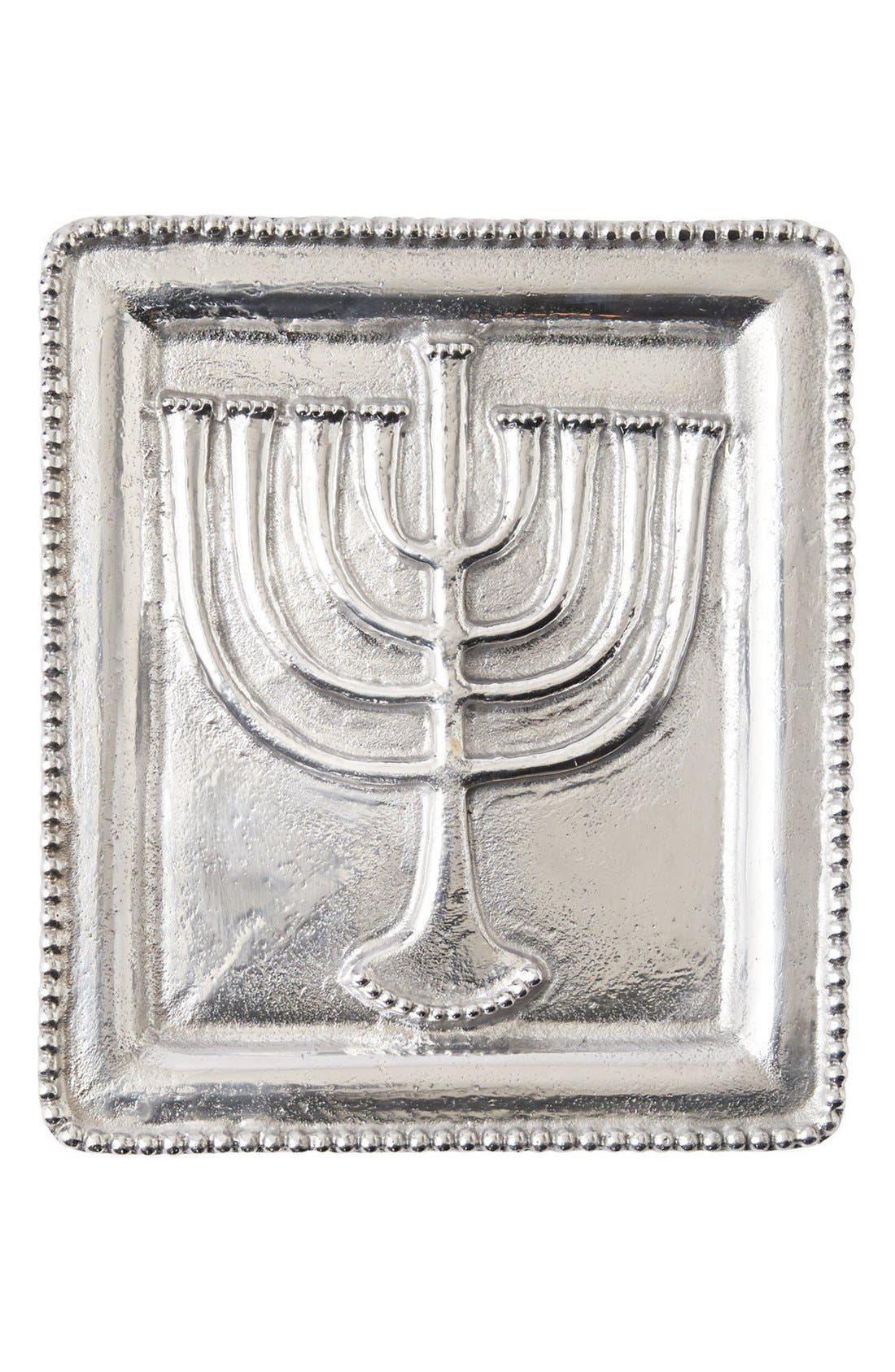 Menorah Embossed Metal Tray,                             Main thumbnail 1, color,                             040