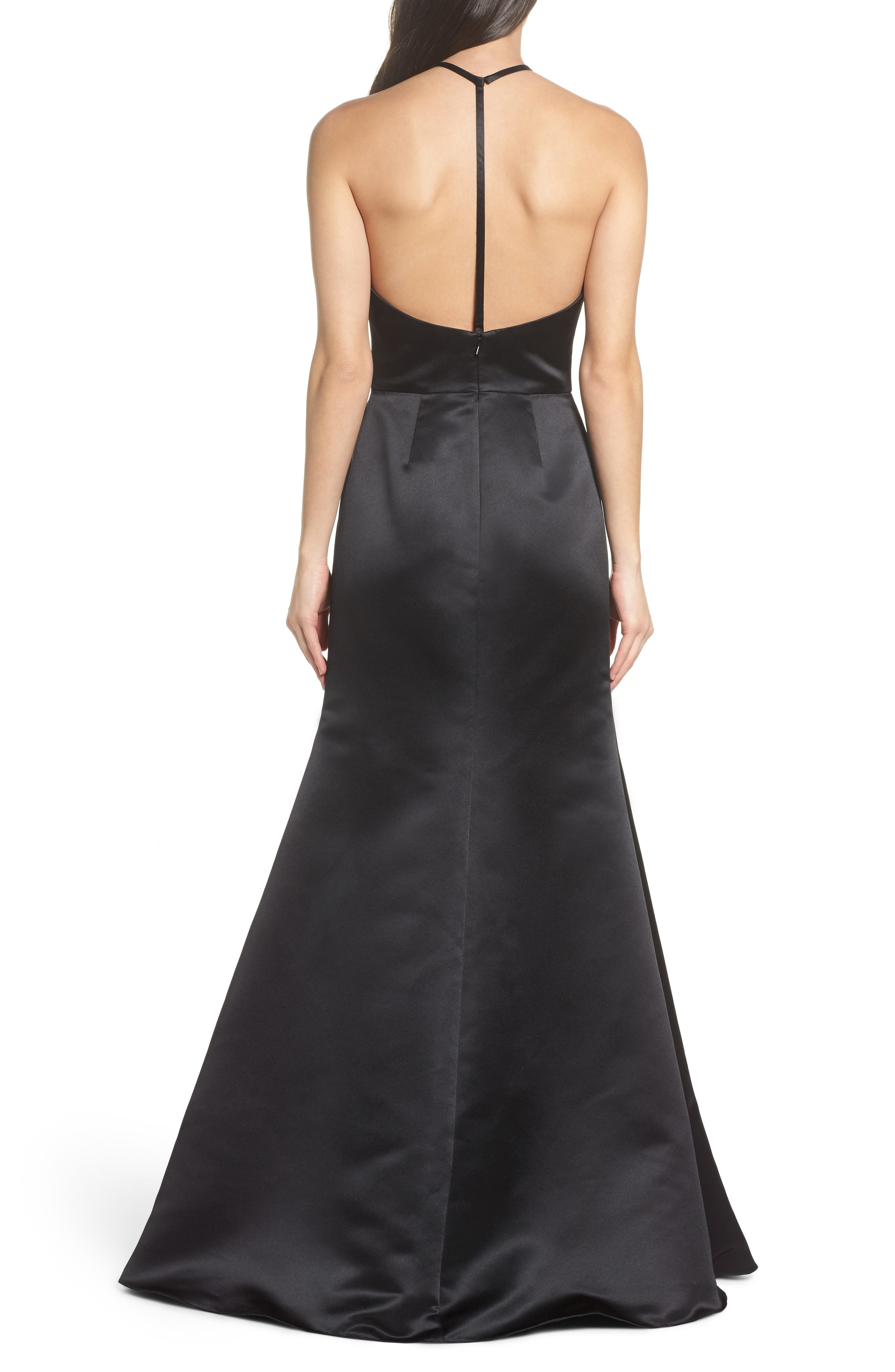 Satin A-Line Gown,                             Alternate thumbnail 2, color,                             BLACK