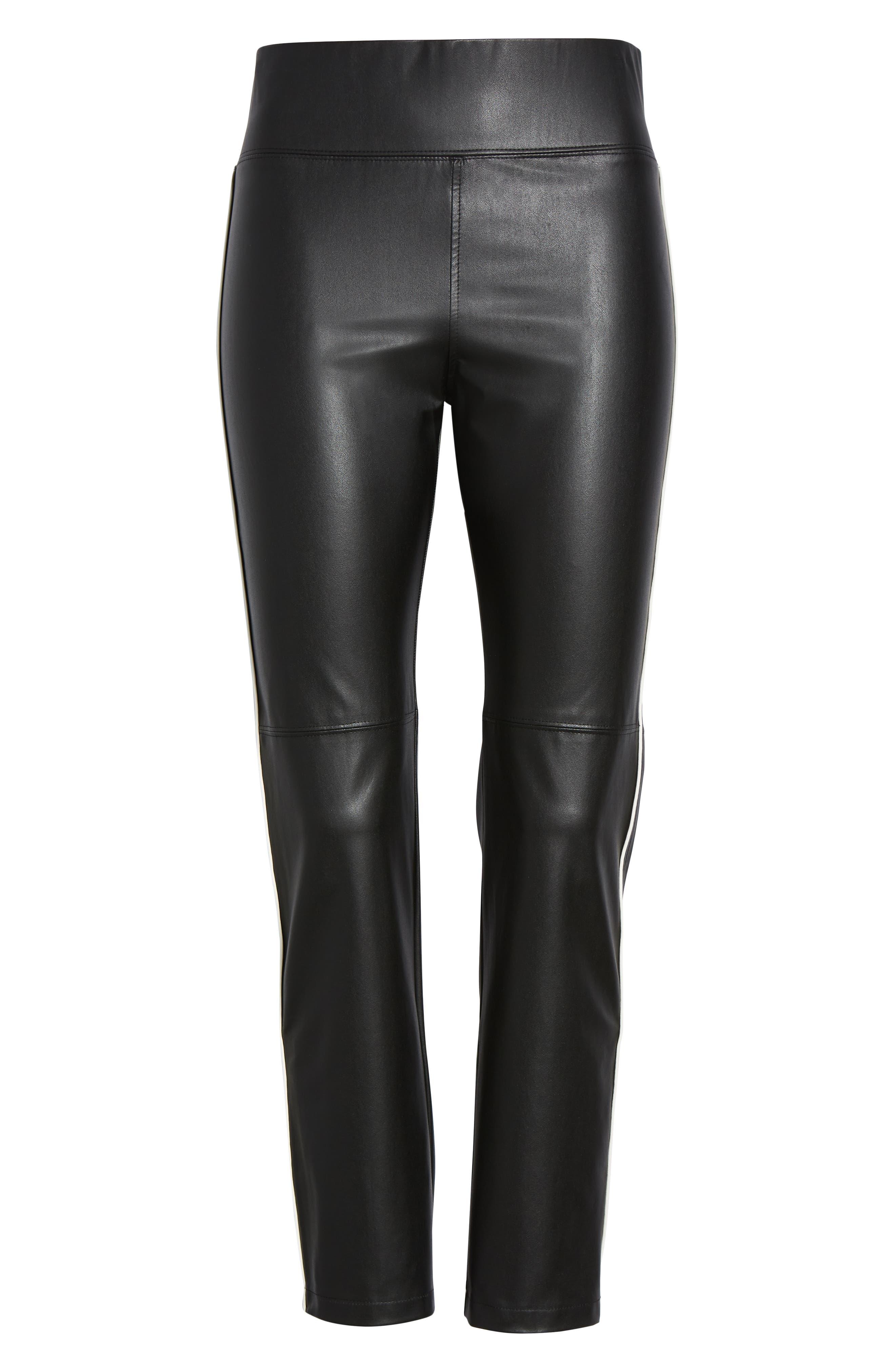 Gemma Faux Leather Skimmer Pants,                             Alternate thumbnail 6, color,                             BLACK