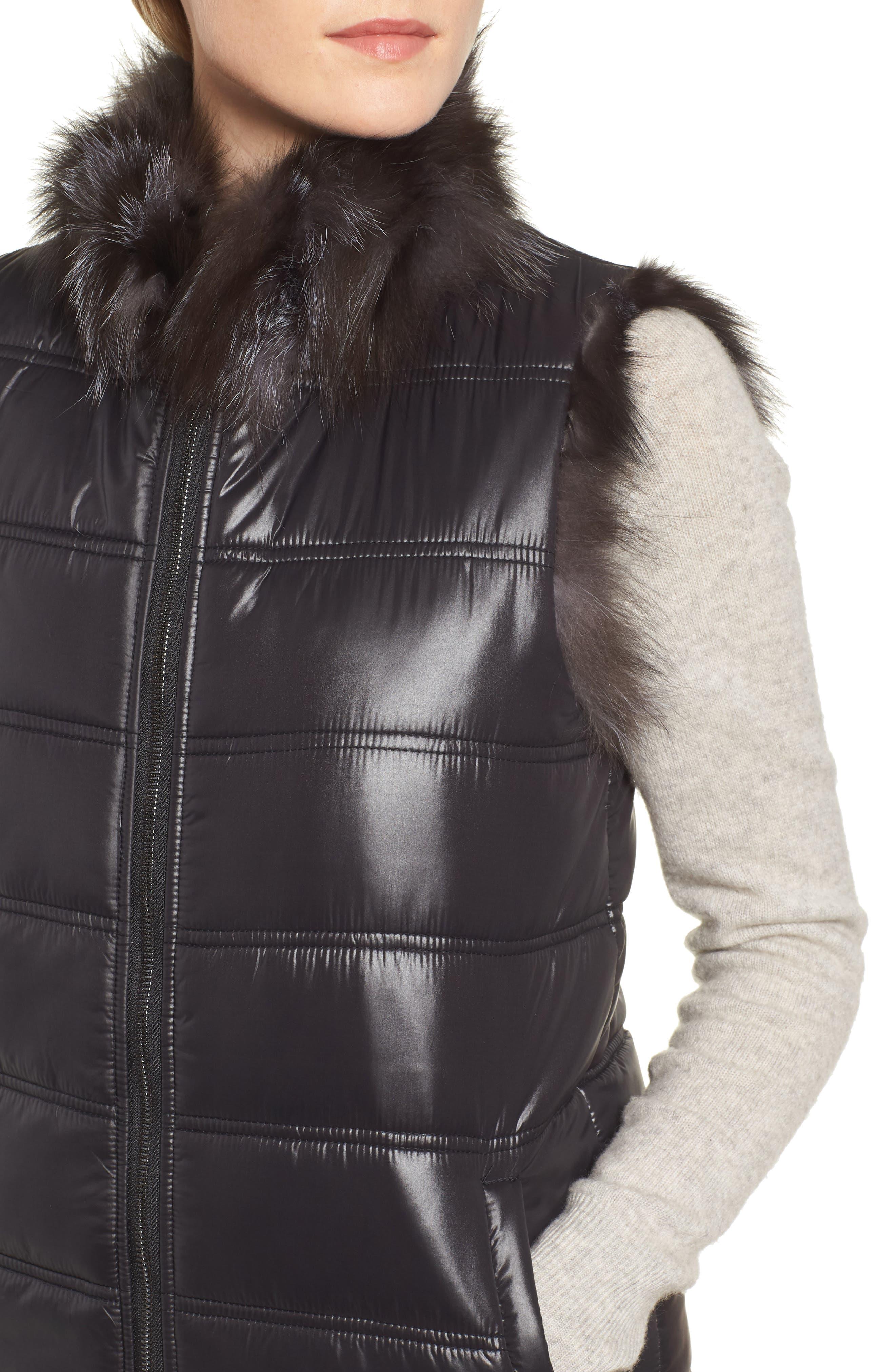 LINDA RICHARDS,                             Reversible Genuine Silver Fox Fur Vest,                             Alternate thumbnail 6, color,                             BLACK/ SILVER